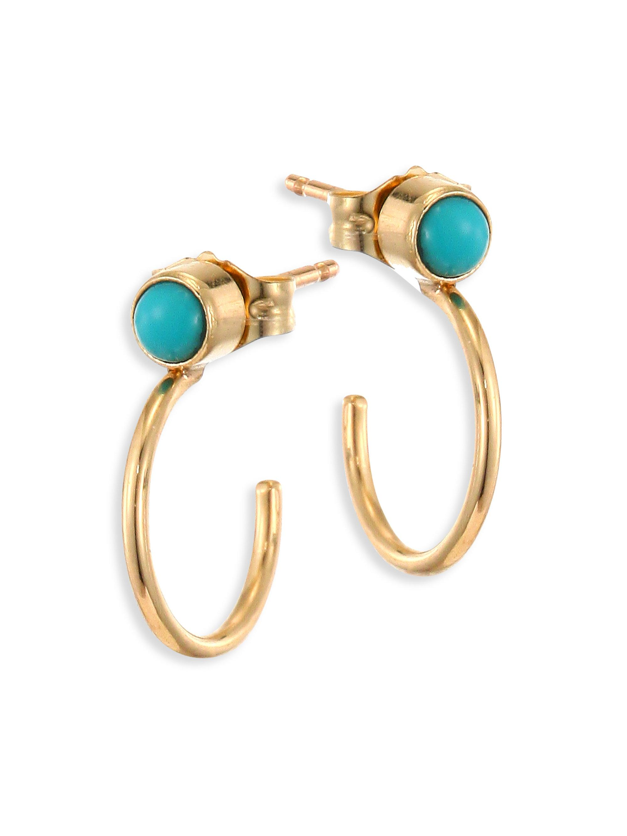 Zoë Chicco 14K Turquoise Bezel Huggie Hoop Earrings kw2sS2XL9k