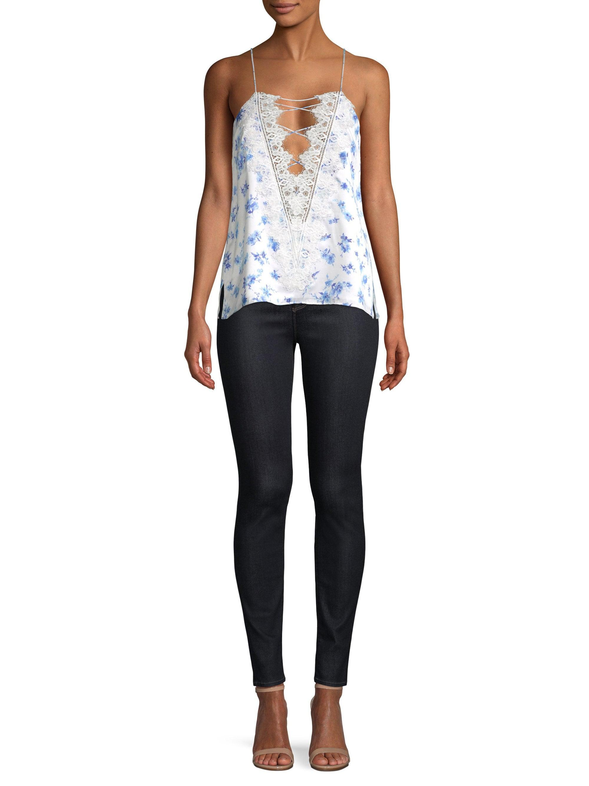 3fa6a2a0fdc Cami NYC - Blue Charlie Silk Lace-up Floral Camisole - Lyst. View fullscreen