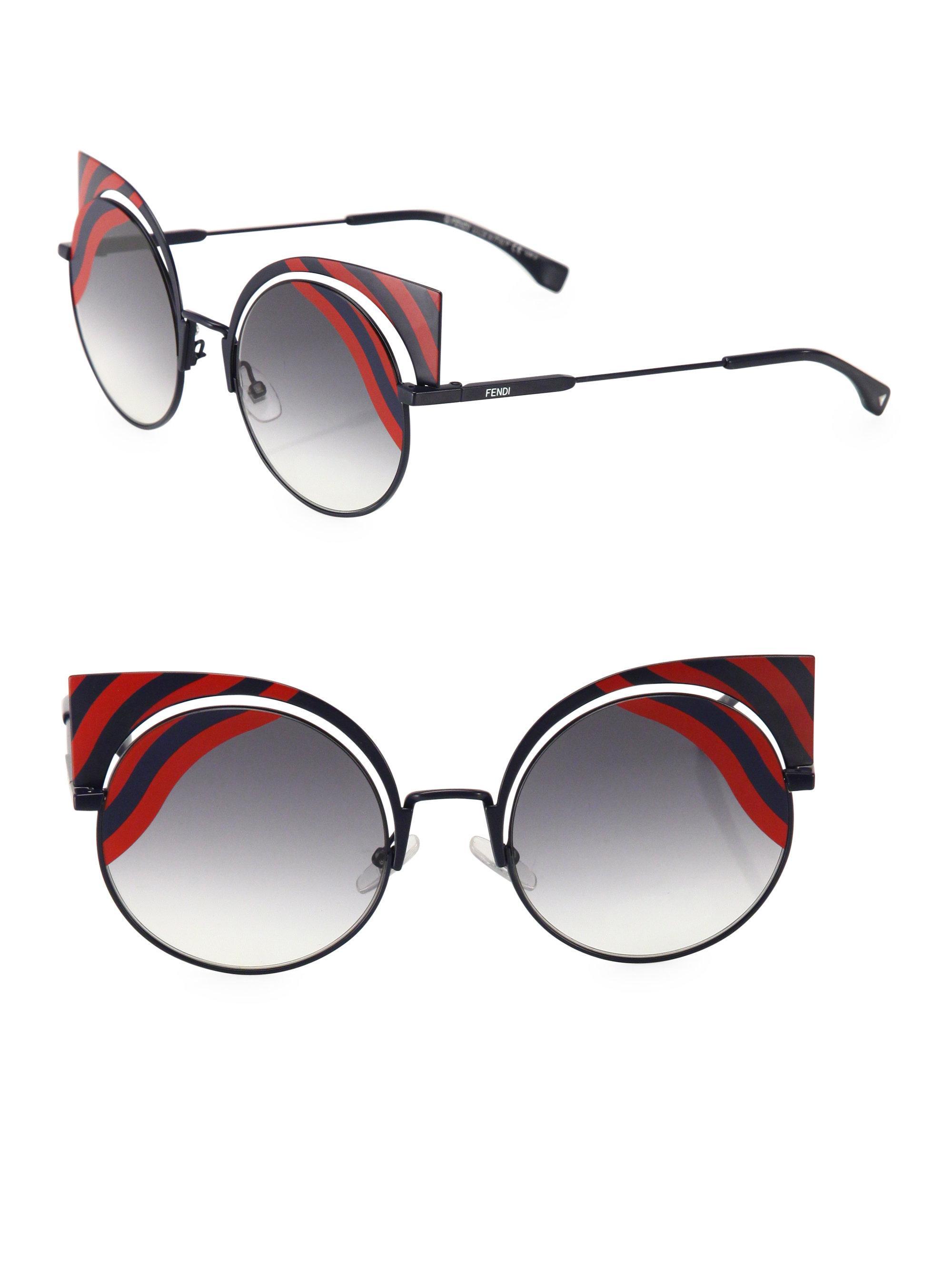 06741b9f54e Lyst - Fendi 42mm Rounded Cat Eye Sunglasses