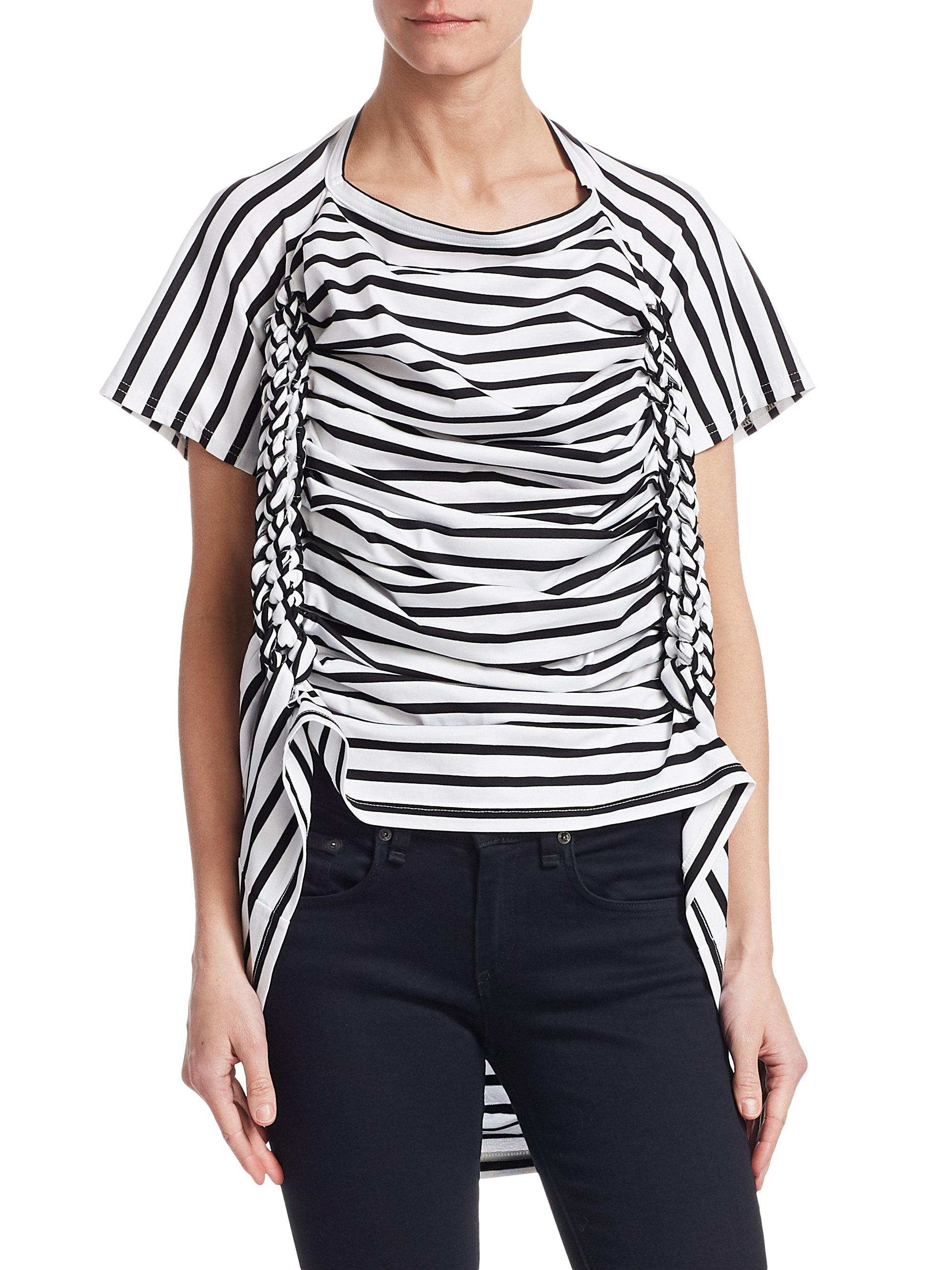 draped striped T-shirt - White Junya Watanabe Cheap For Nice Fake Sale Online Buy Cheap Latest Sast For Sale Huge Surprise Cheap Online TJErx5DXgH
