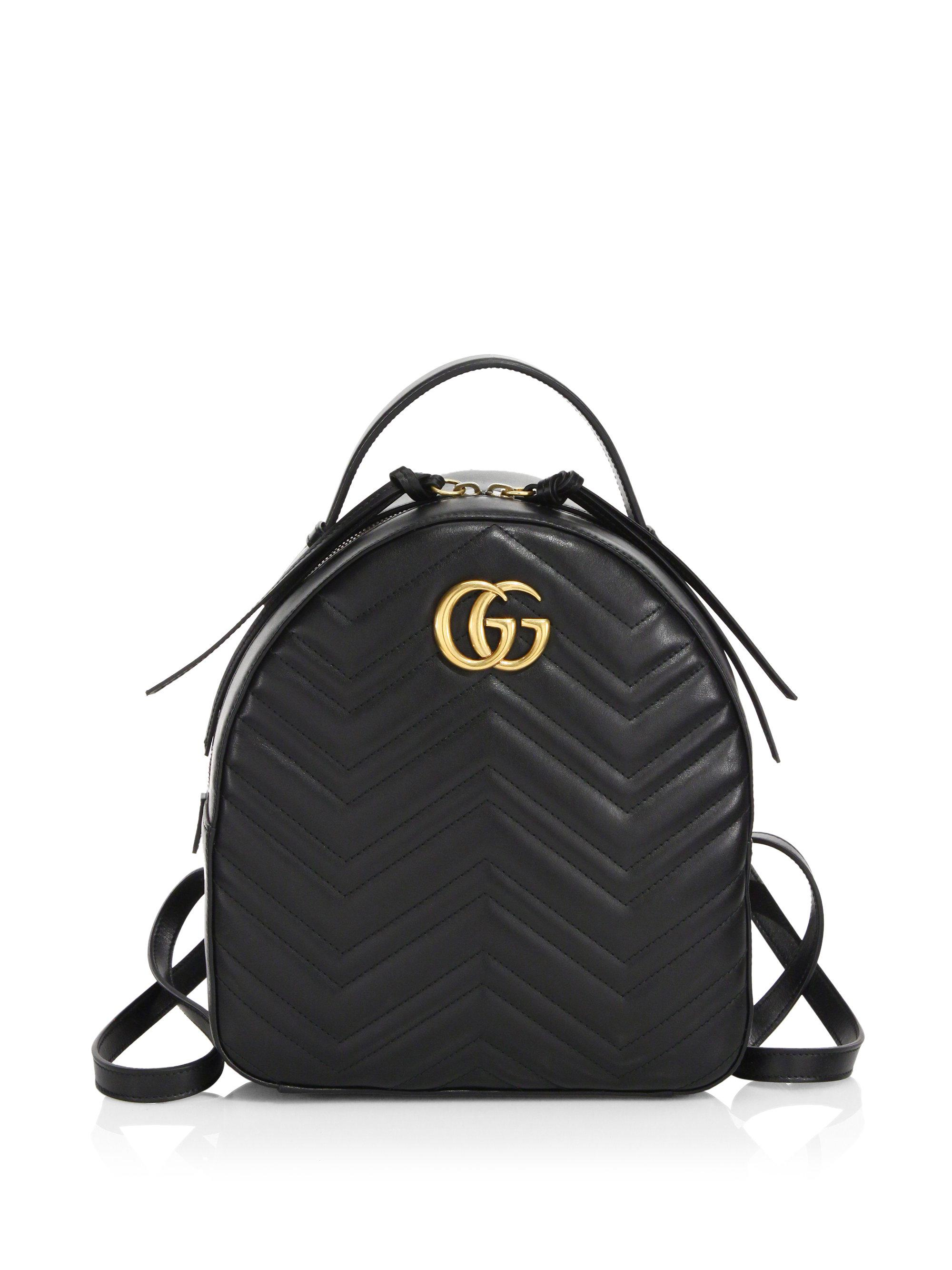 d7114592262 Gucci GG Marmont Chevron Quilted Leather Mini Backpack in Black - Lyst
