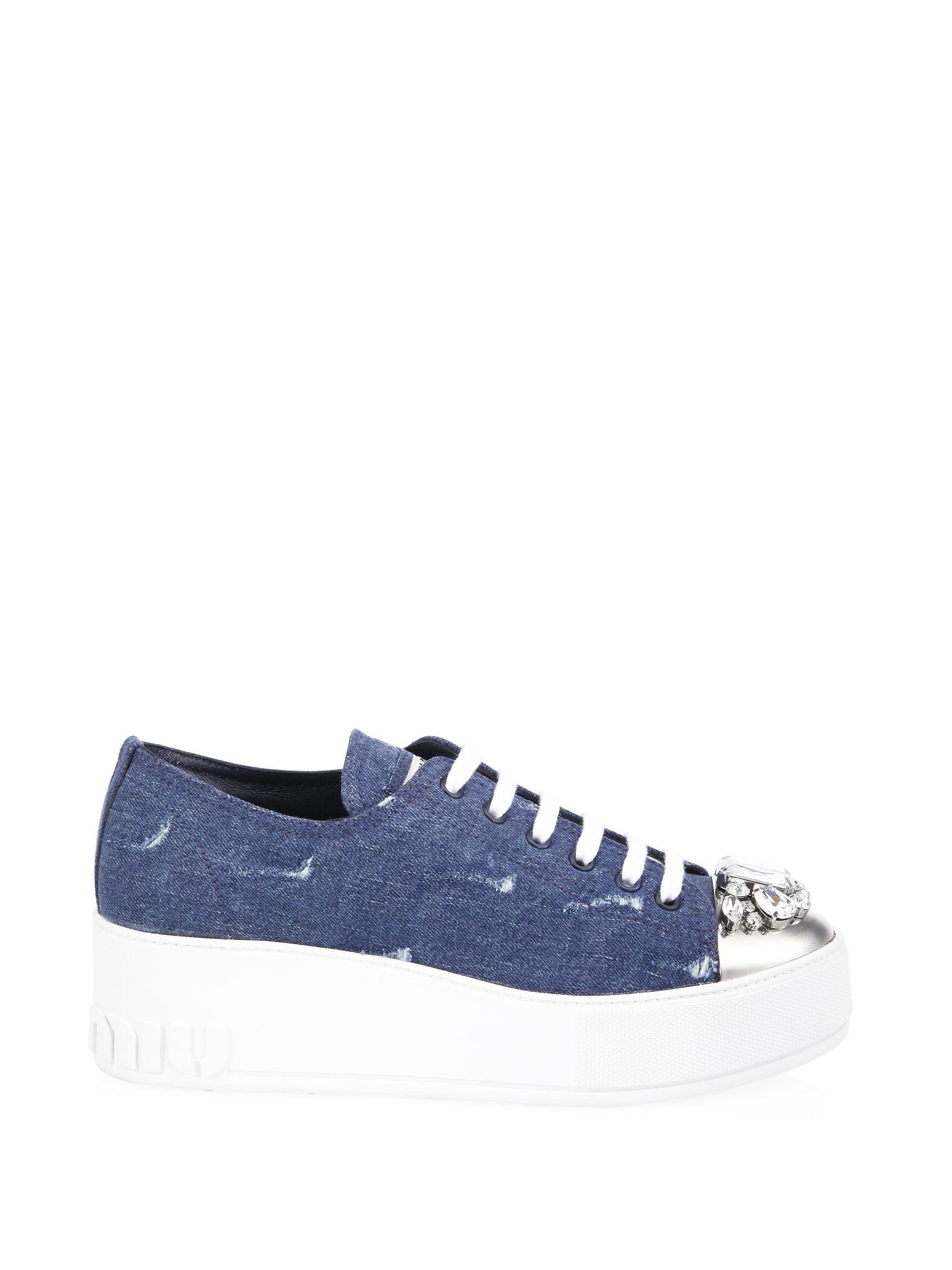 Miu Miu Jeweled Captoe Denim Platform Sneakers XBLNt5j5