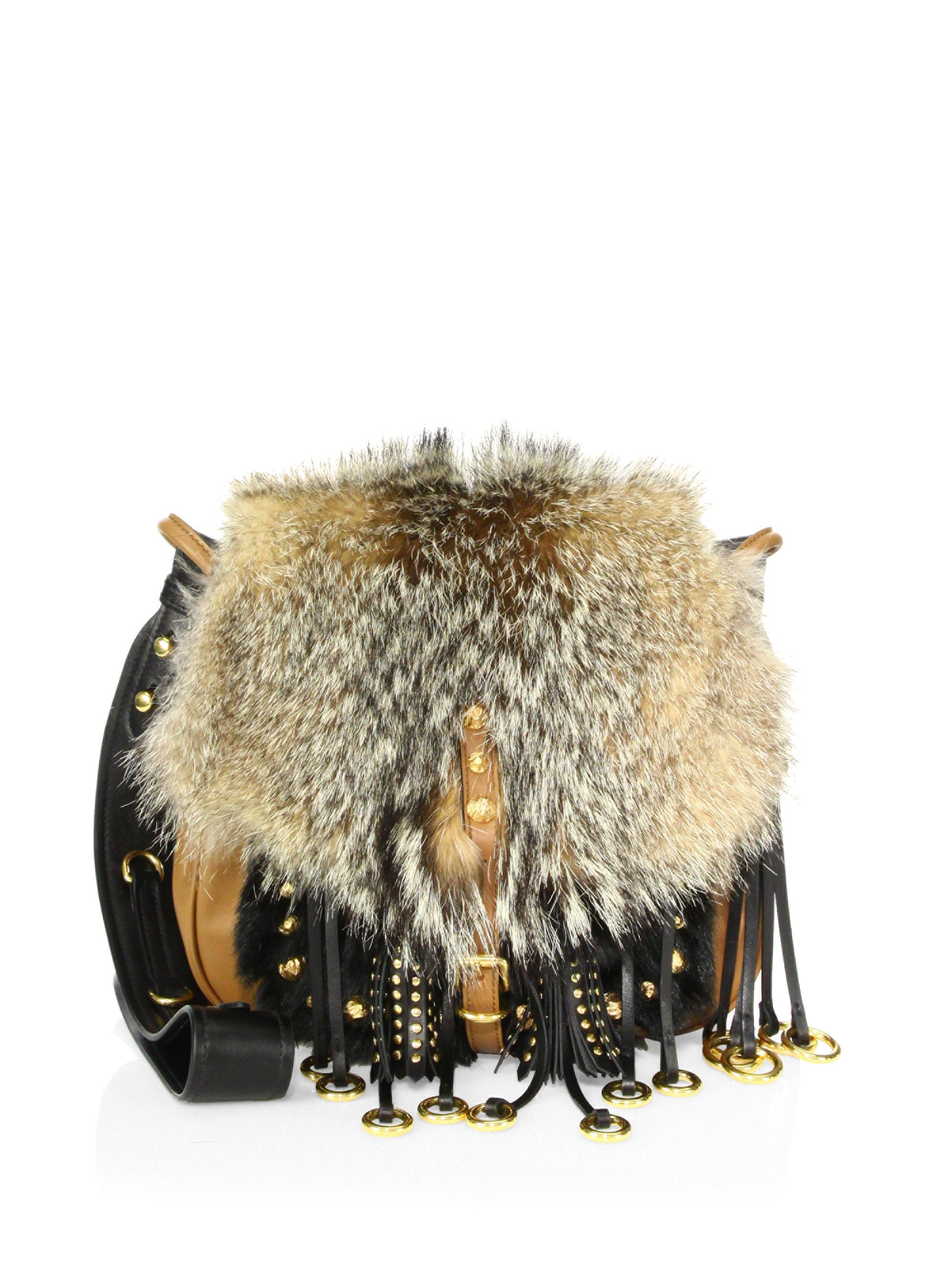 b0d522a8542e Prada Corsaire Fox Fur   Leather Messenger Bag in Natural - Lyst