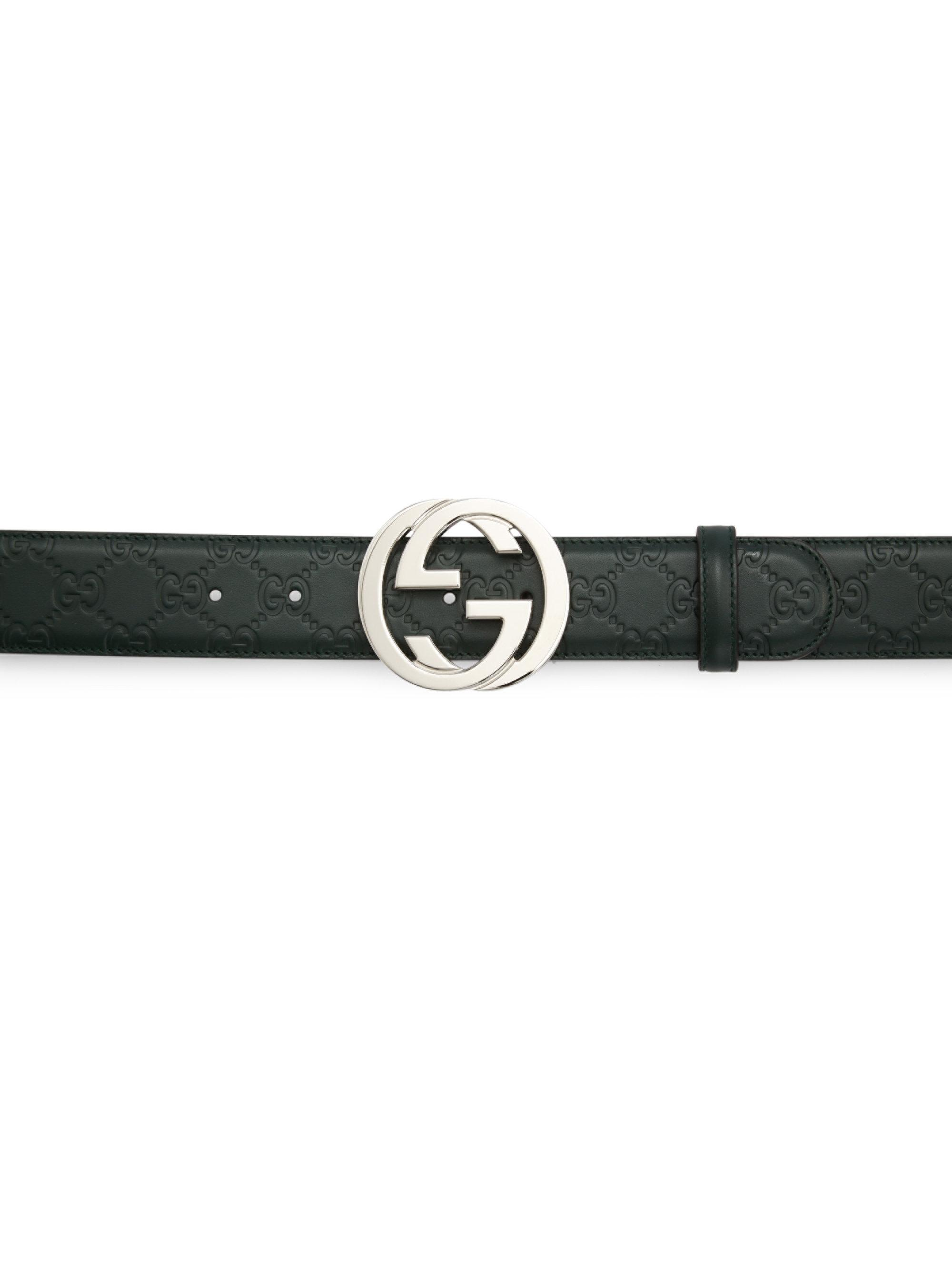 81bdf1ab5197 Lyst - Gucci Men s Embossed Interlocking G Belt - Red - Size 115 (46 ...
