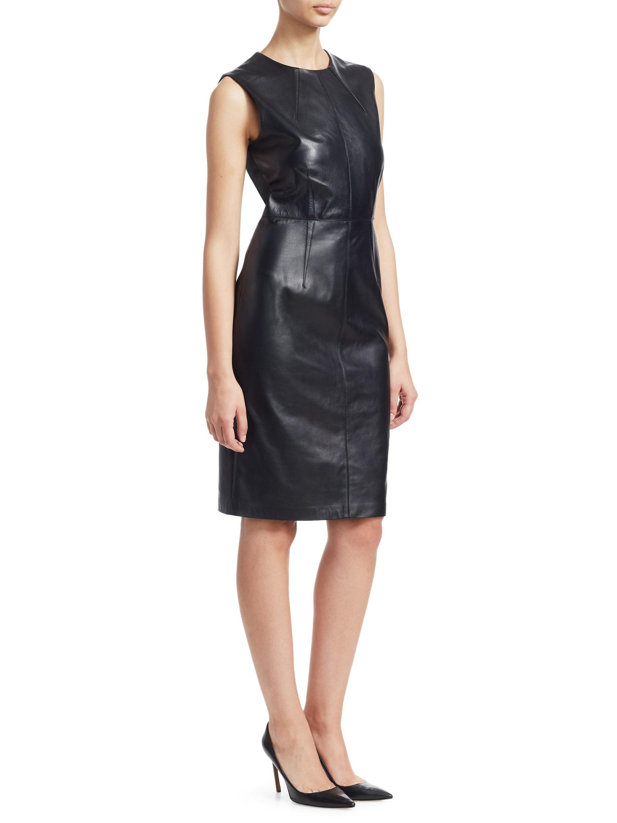 2829bbd420c Saks Fifth Avenue. Women s Collection Leather Sheath Dress - Black - Size  Medium