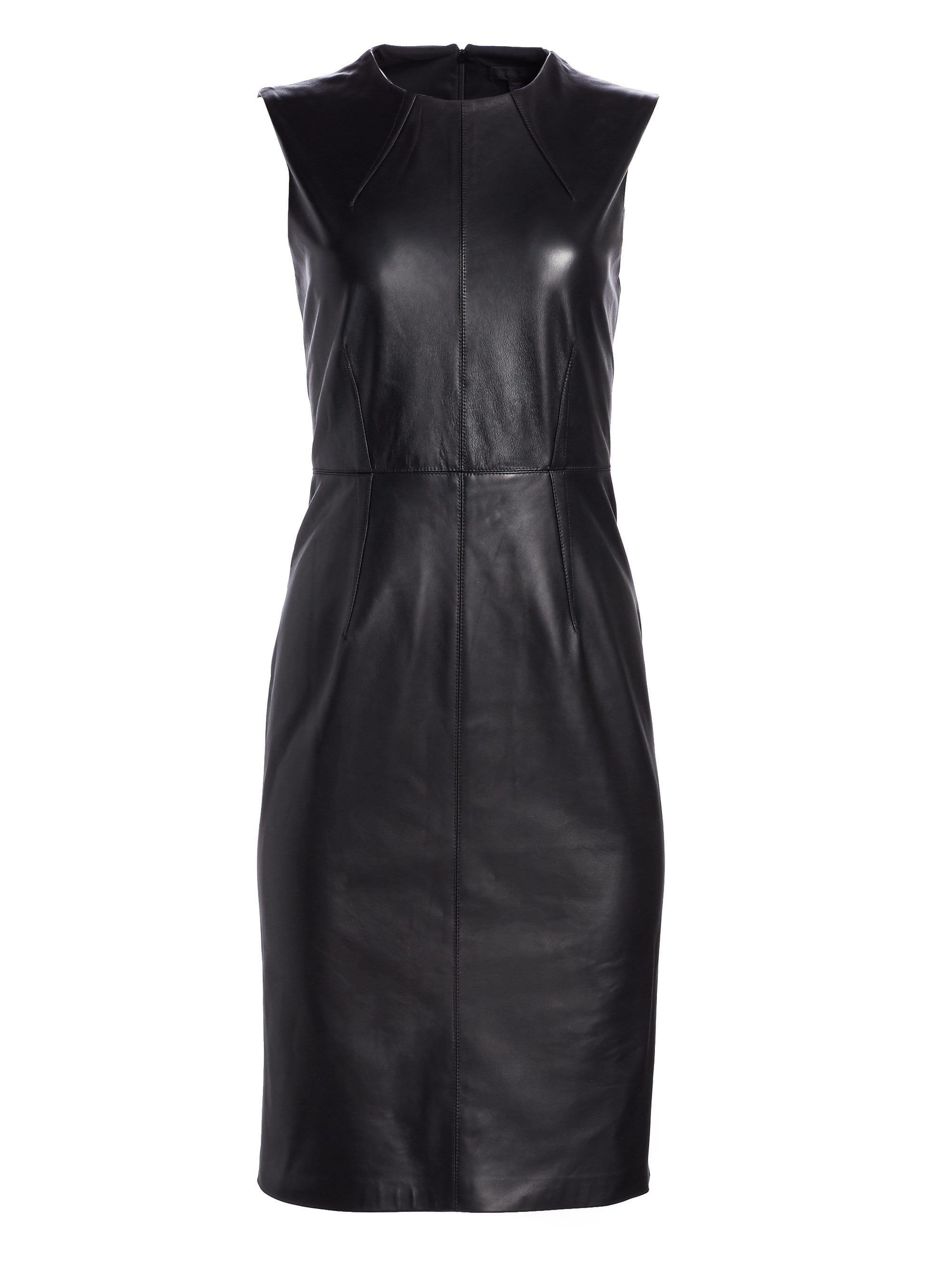 abb904afda9 Saks Fifth Avenue Collection Leather Sheath Dress in Black - Lyst
