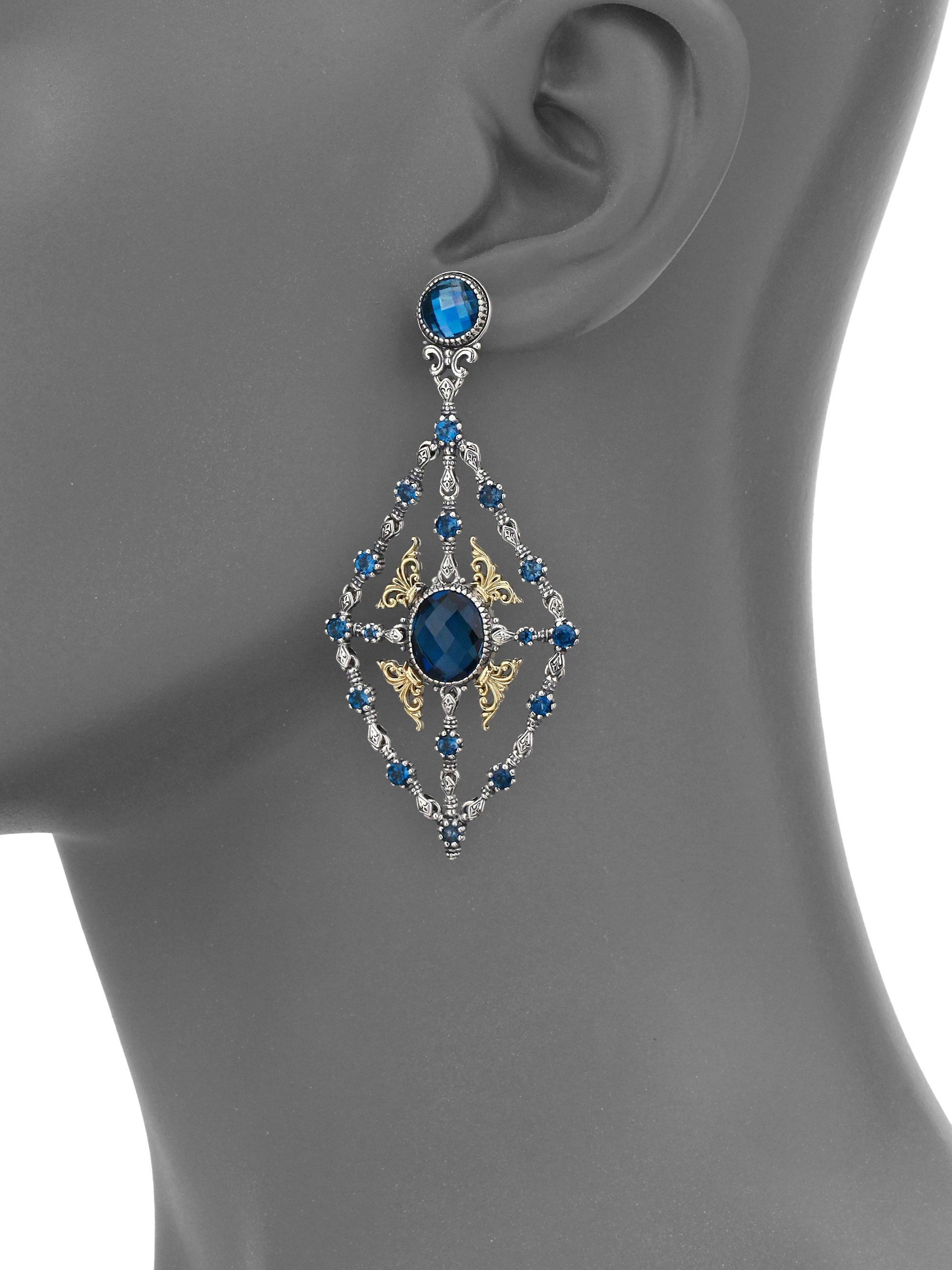 Lyst konstantino thalassa london blue topaz 18k yellow gold chandelier earrings view fullscreen mozeypictures Gallery