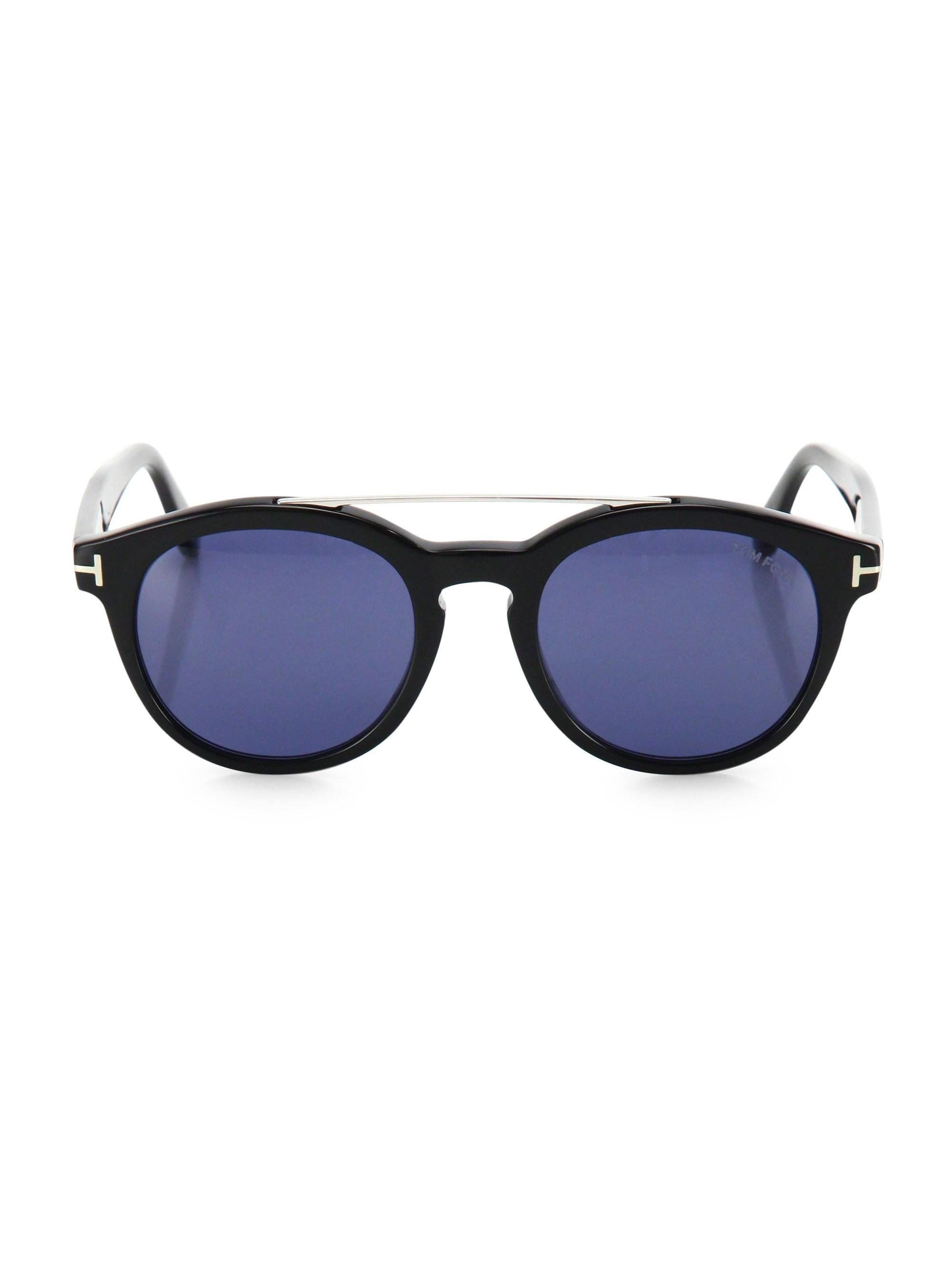 4c3b1c2ae2 Lyst - Tom Ford Newman 53mm Round Sunglasses in Blue for Men