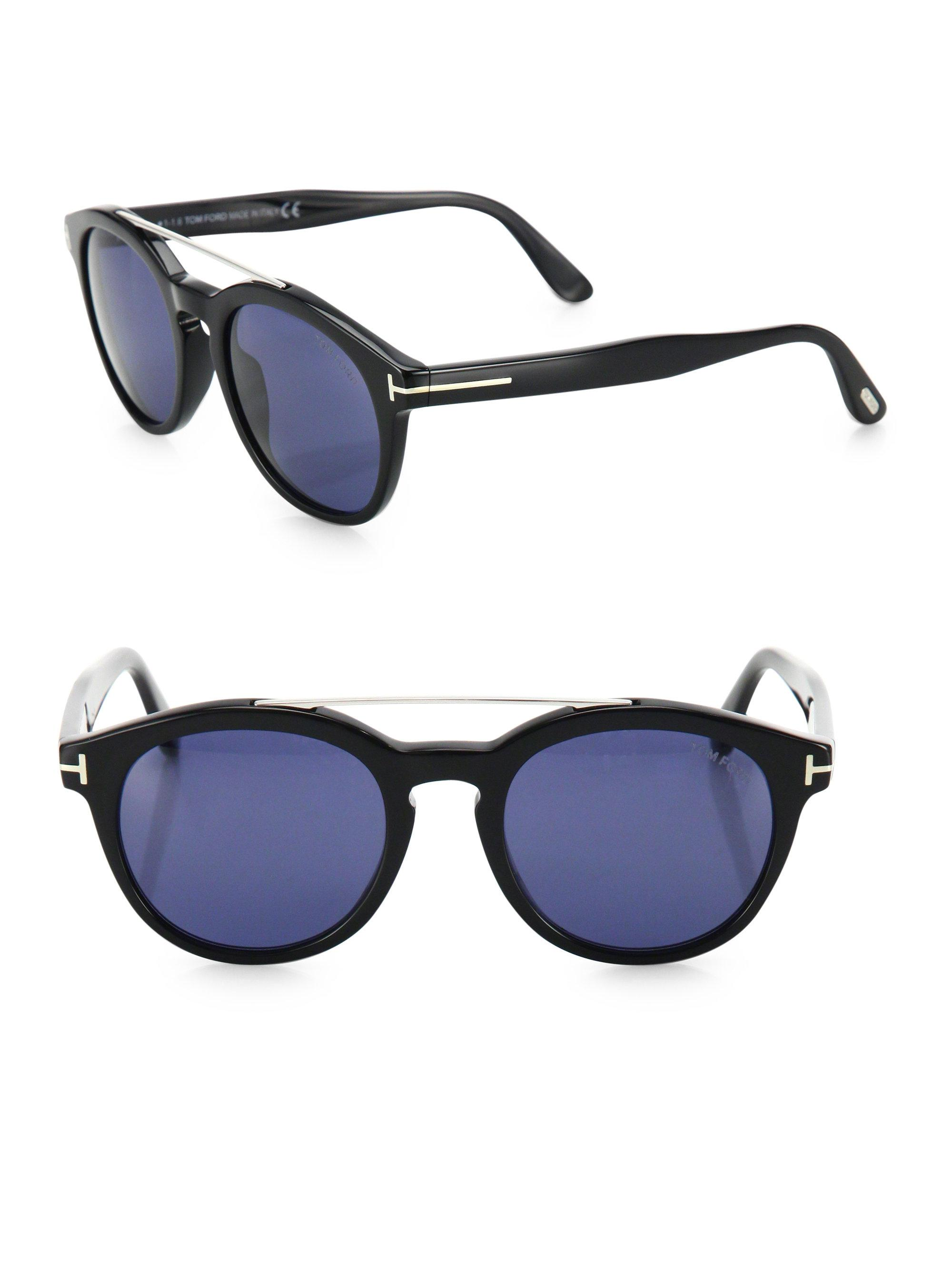 52b7077988 Tom Ford Newman 53mm Round Sunglasses in Blue for Men - Lyst