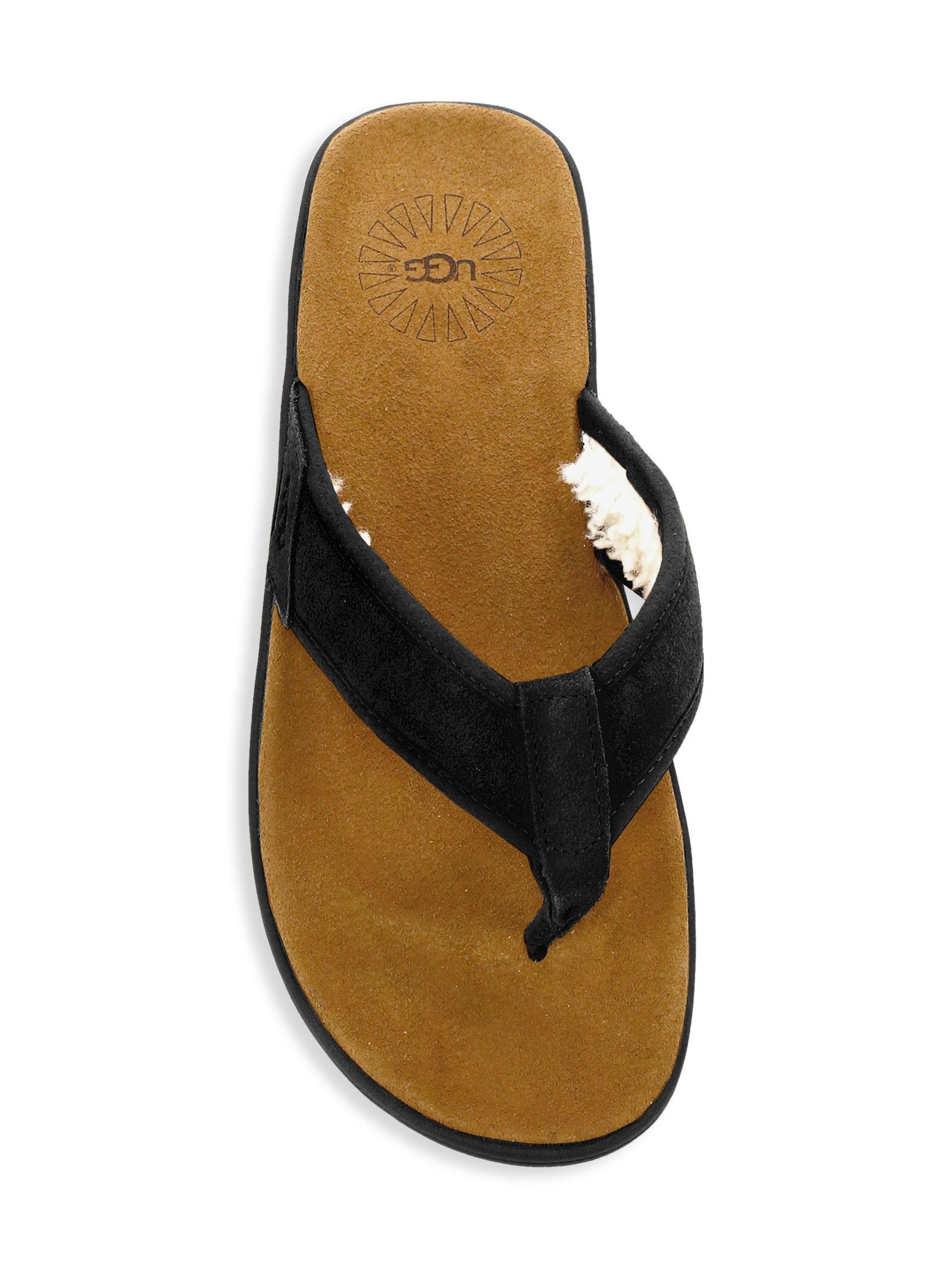 1ef5493cdf2 Ugg - Men's Seaside Suede Faux Shearling-lined Flip Flops - Black for Men -  Lyst