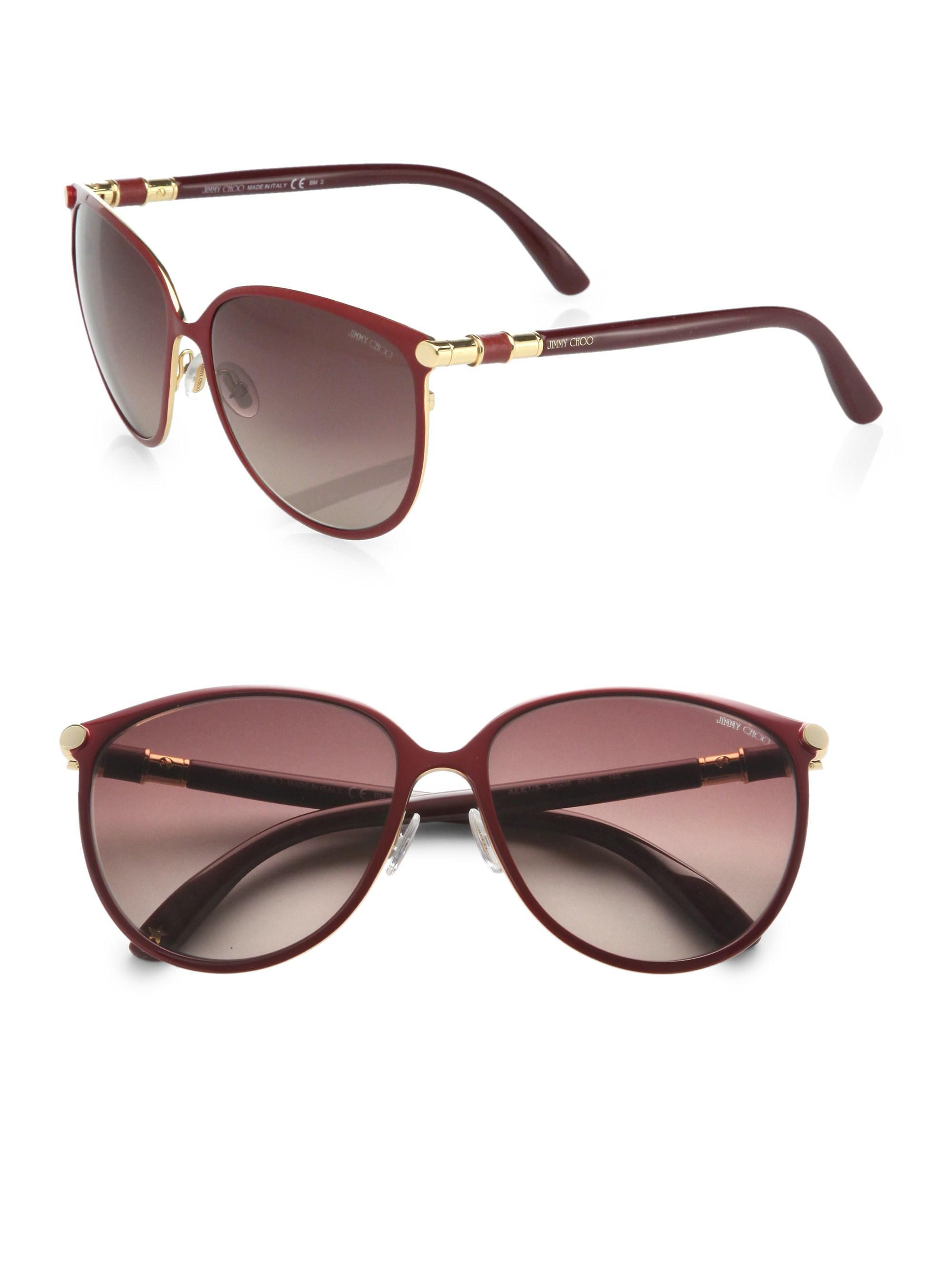 167d6a13a2 Jimmy Choo Juliet Cat s-eye Metal Sunglasses in Red - Lyst