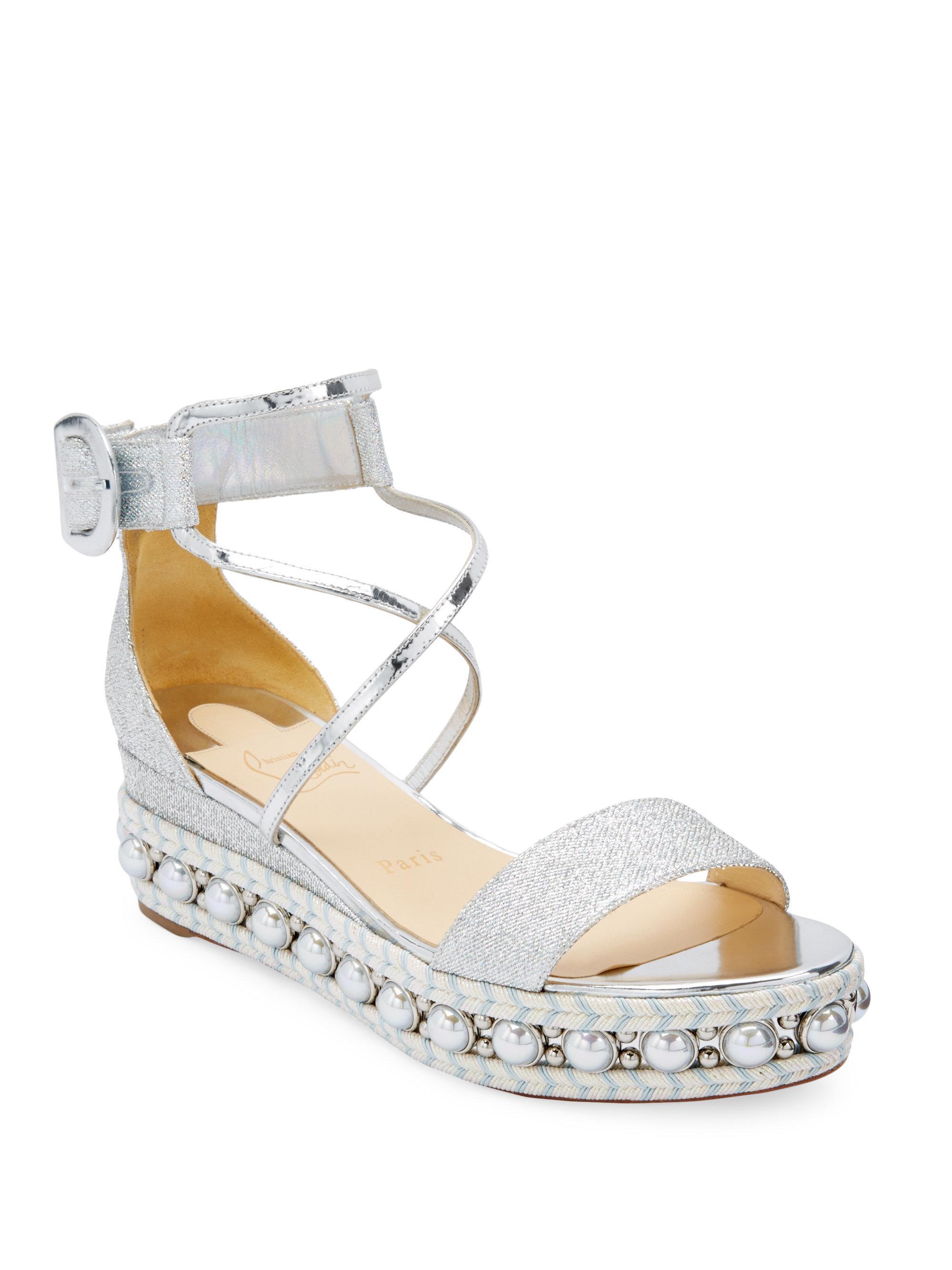6caadd9aa5a4 Christian Louboutin Chocazeppa Wedge Sandals in Metallic - Lyst