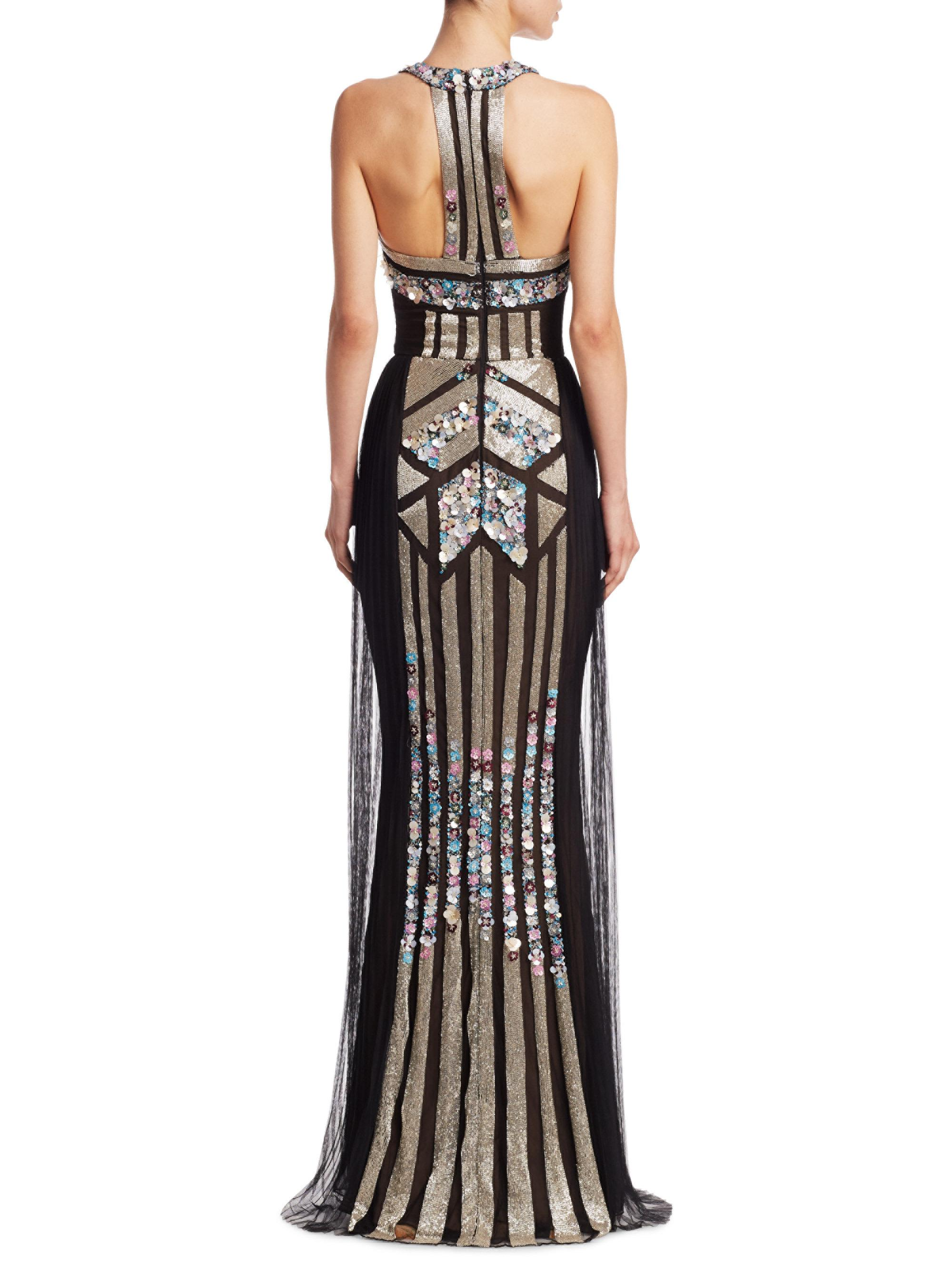 Lyst - Notte By Marchesa Art Deco Sequin Mermaid Gown in Black