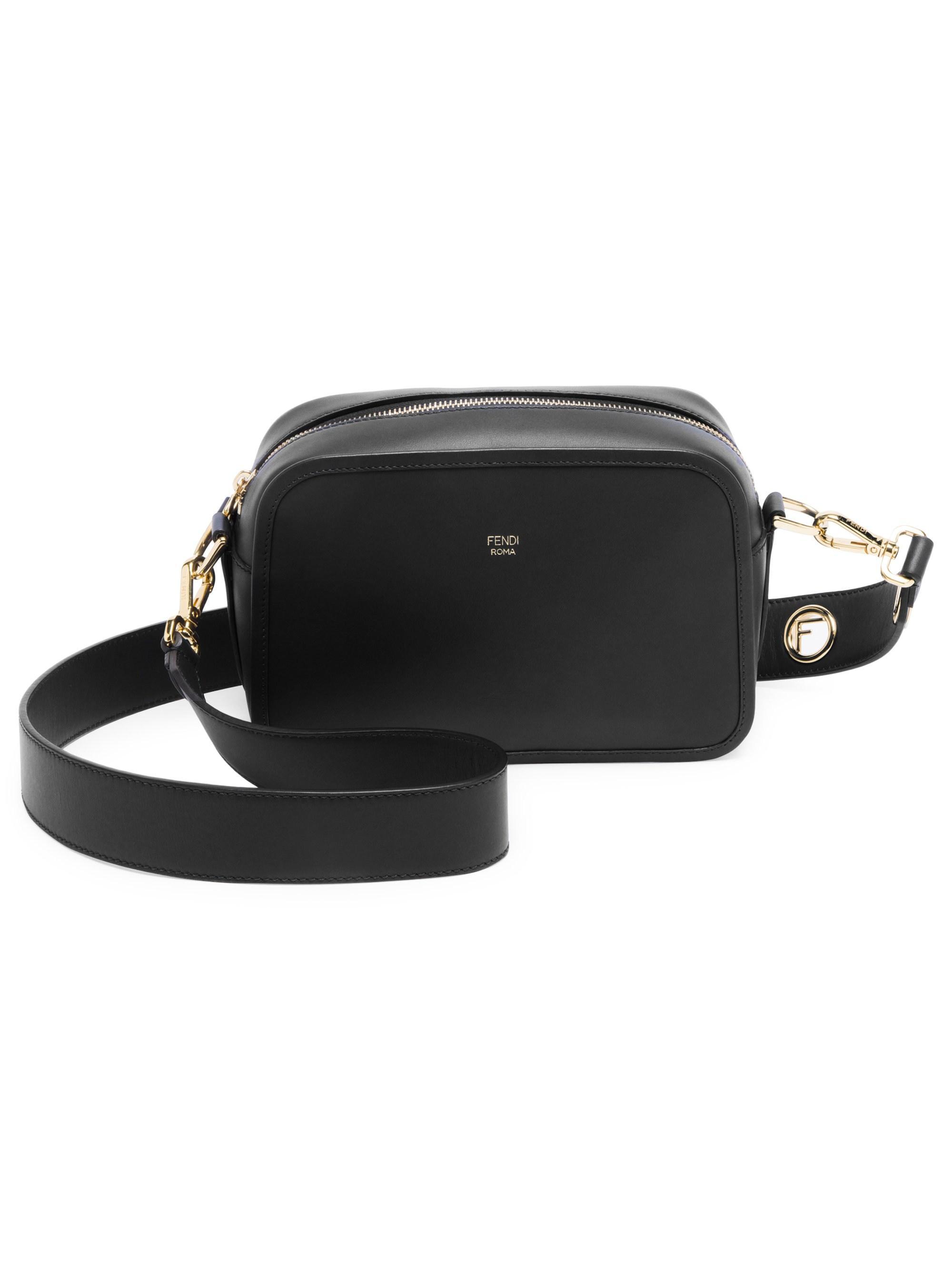 Lyst - Fendi Women s Camera Leather Crossbody Bag - Black in Black 3221f9c1f685d