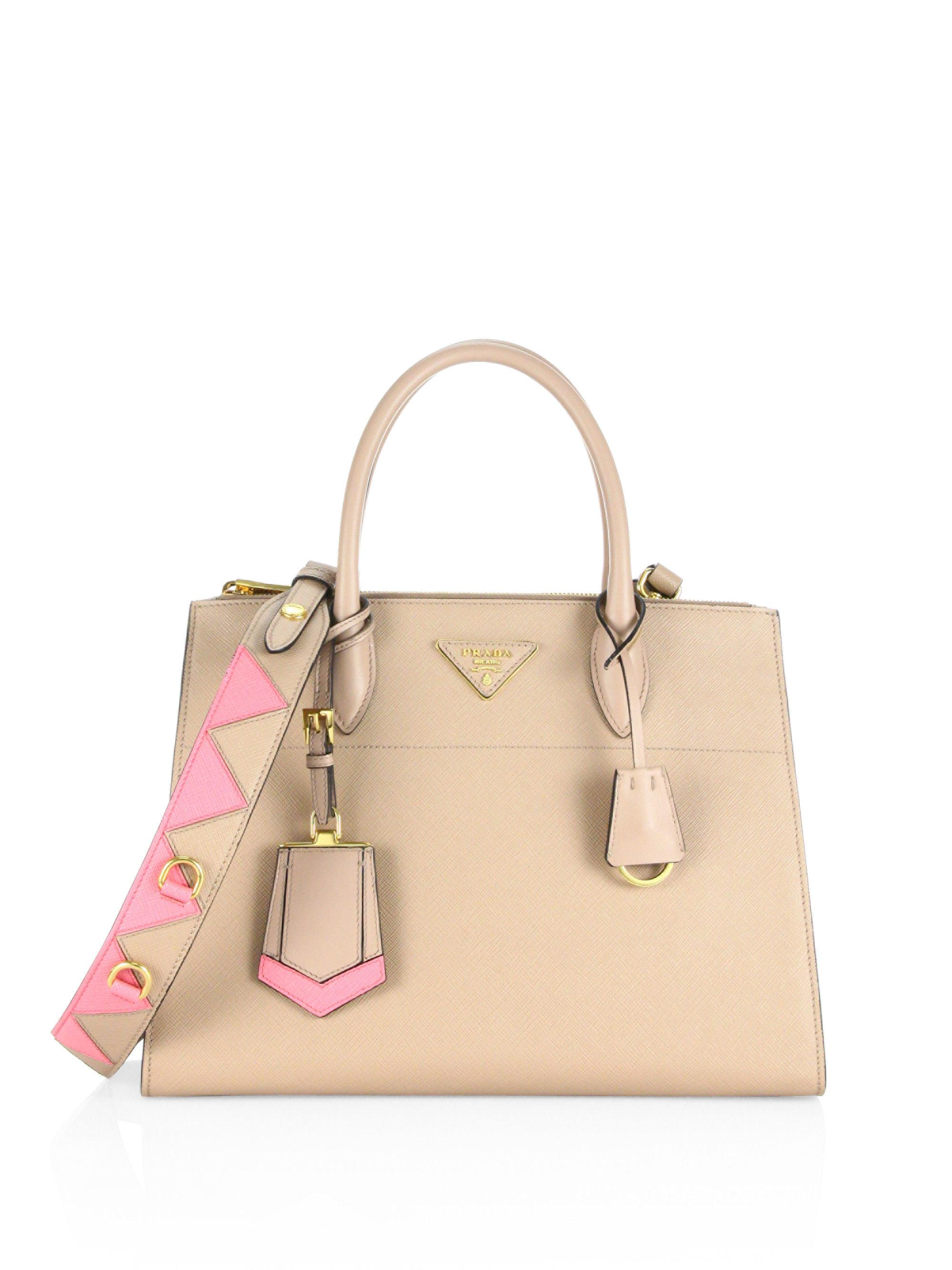 a186e5d04cad Lyst - Prada Paradigme Saffiano Leather Tote in Pink