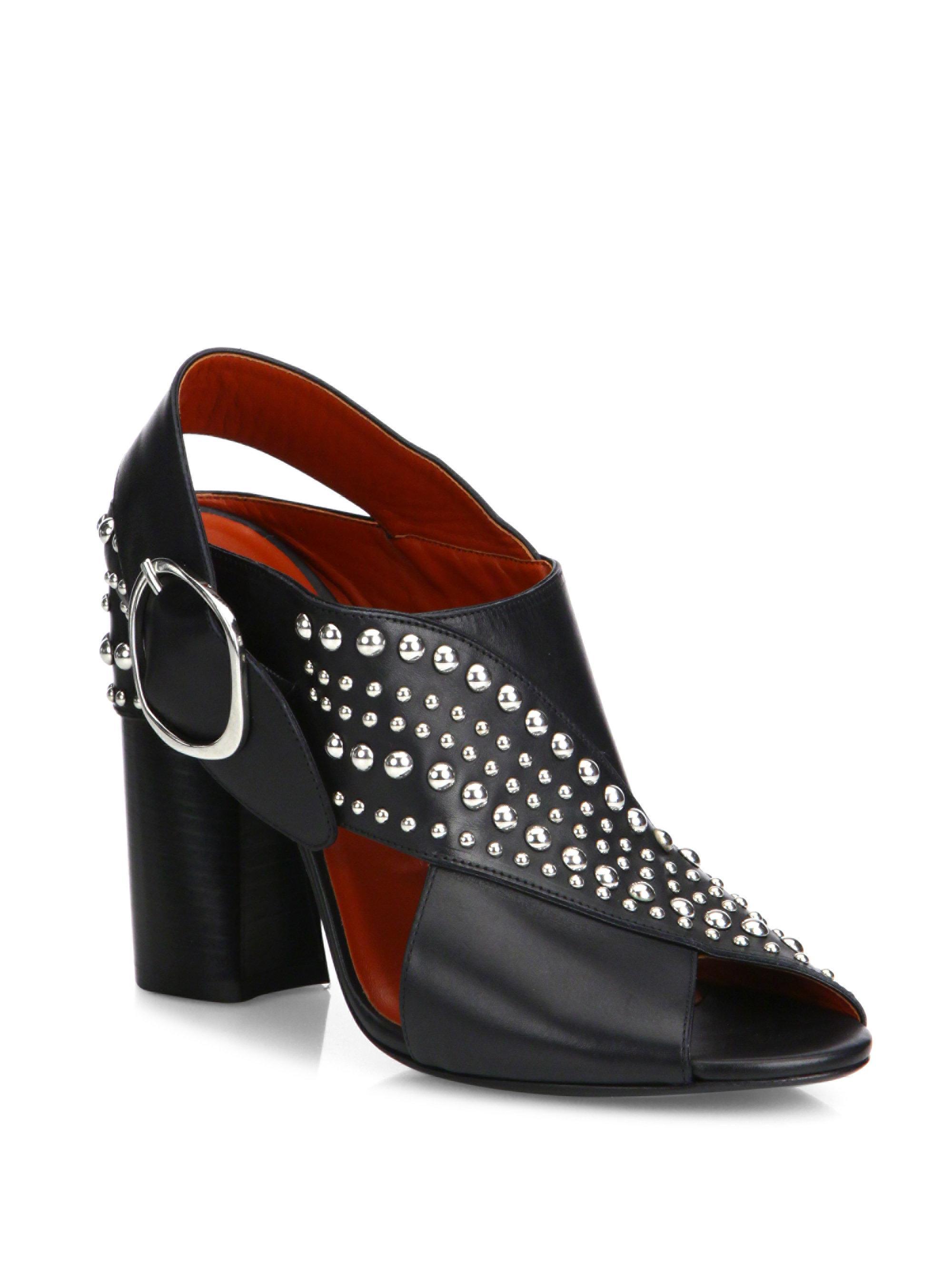 3.1 Phillip Lim. Women's Black Patsy Studded Crisscross Leather Block Heel  Slingback Sandals