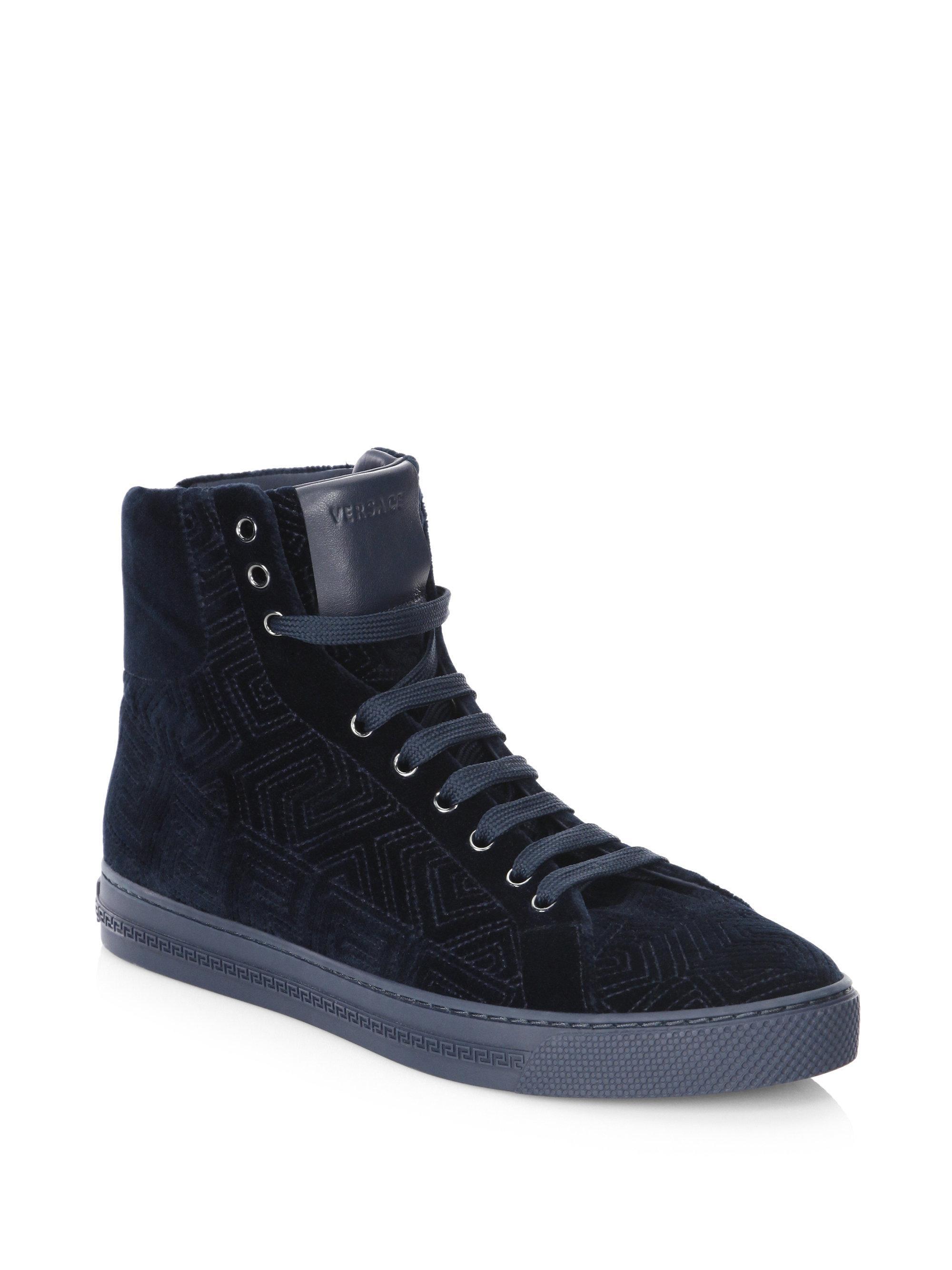 VERSACE Topstitched Velvet Hi-Top Sneakers oWZsUTwli