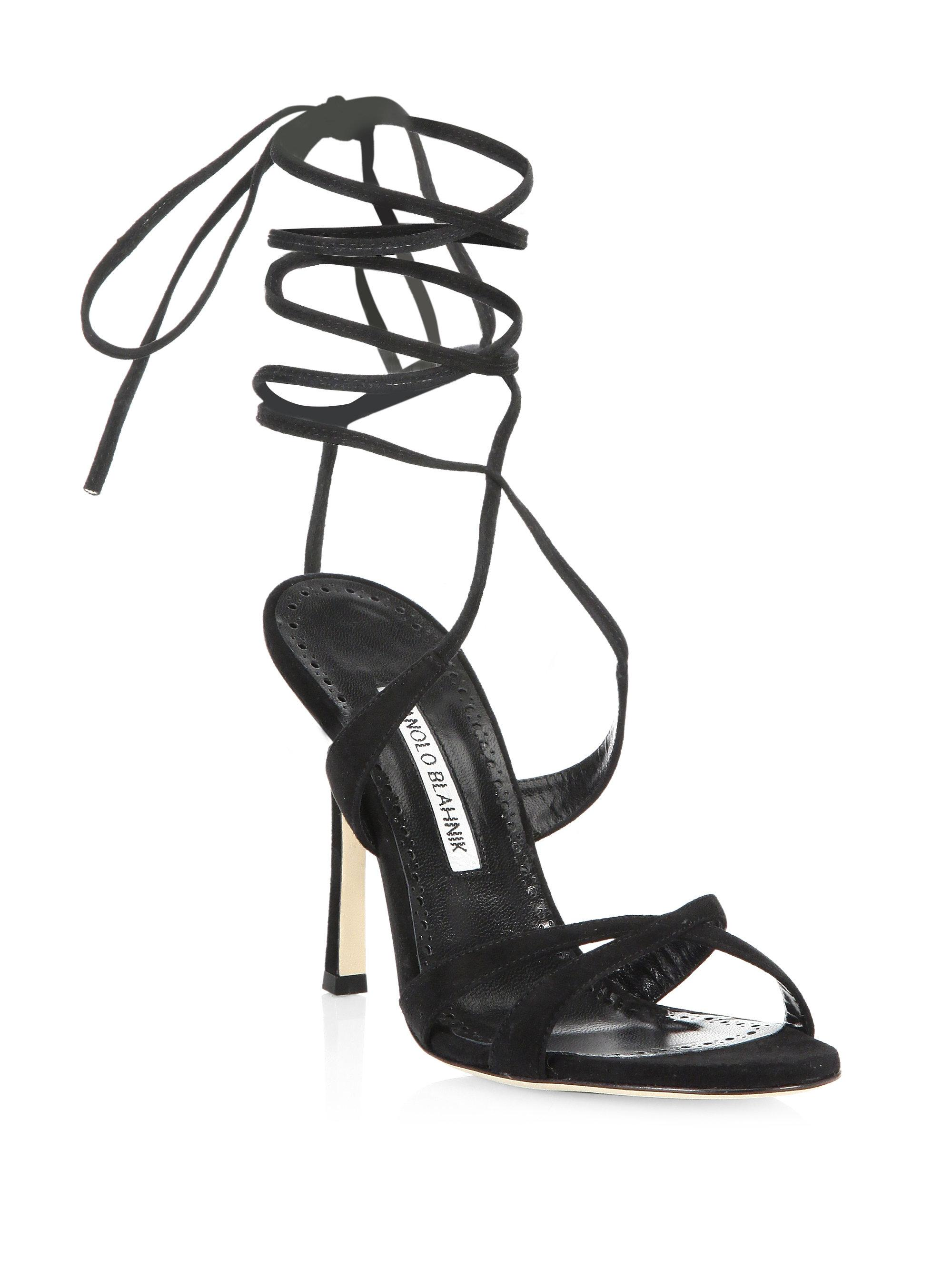 Manolo Blahnik Suede Lace-Up Sandals cheap prices many kinds of sale online lNaJQKGEi