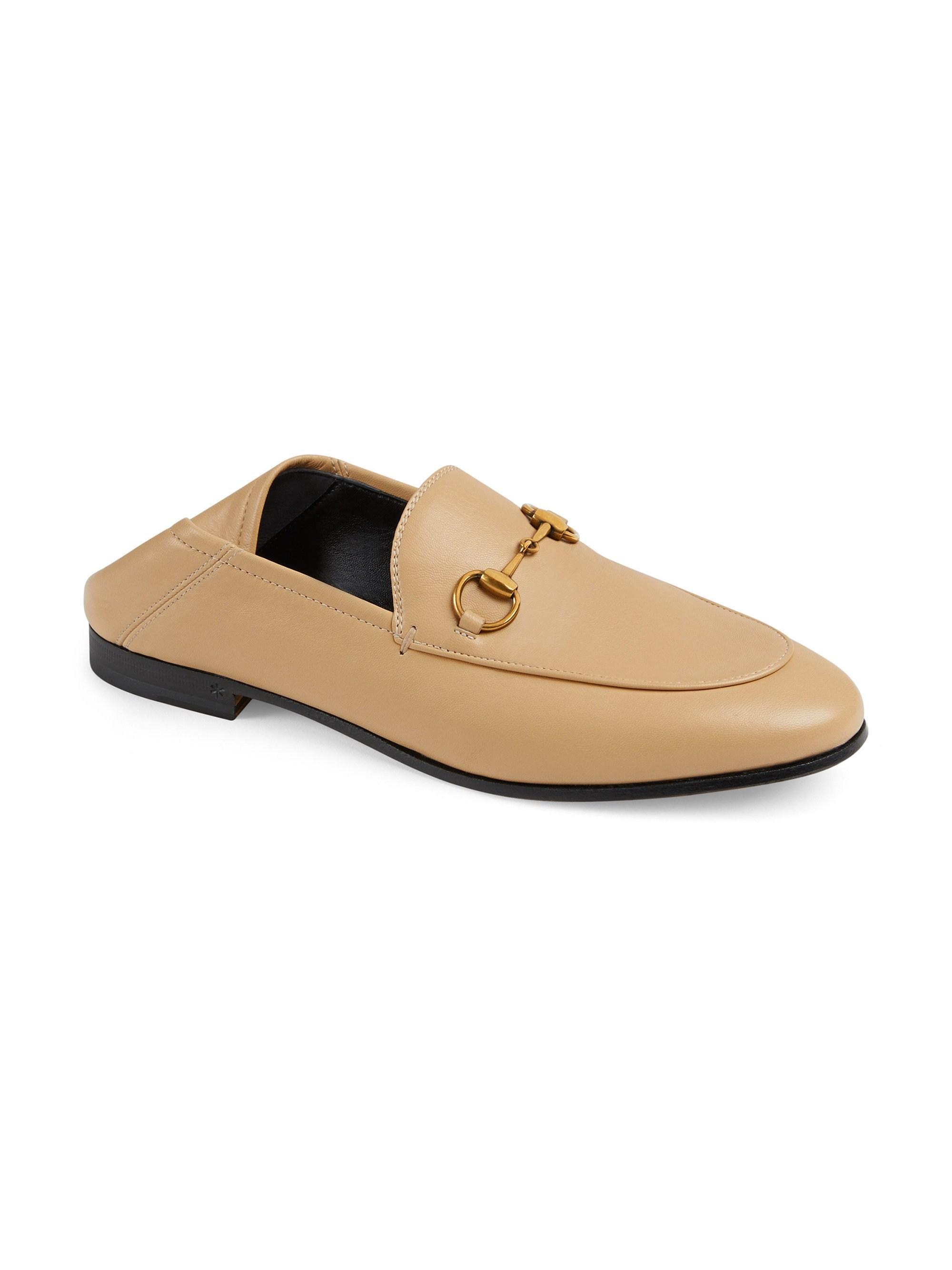 ea8776d00bc Lyst - Gucci Women s Brixton Leather Horsebit Loafers - White