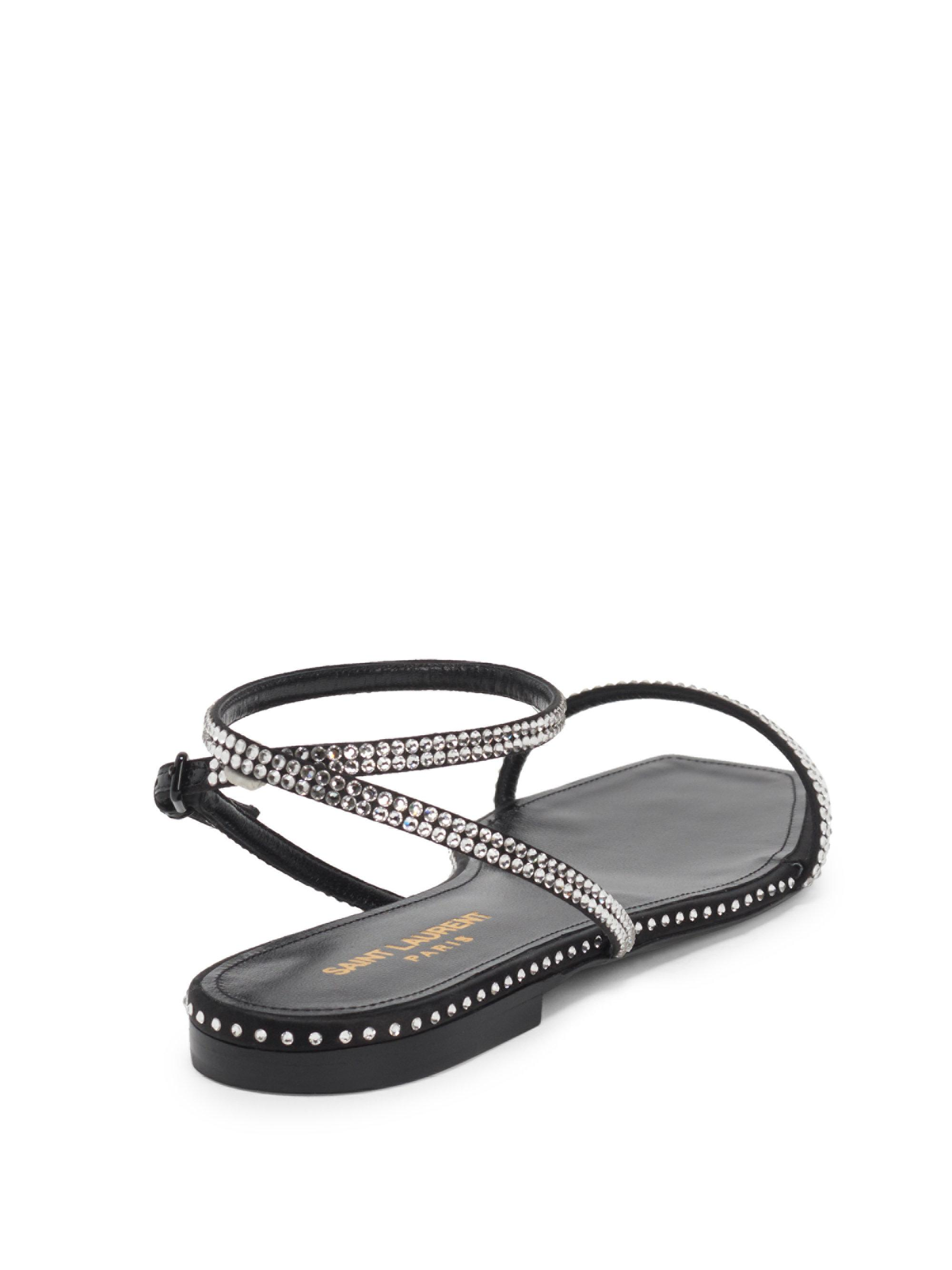 26996d53c77 Lyst - Saint Laurent Nu Pied Raso Crystal Ankle-strap Sandals in Black