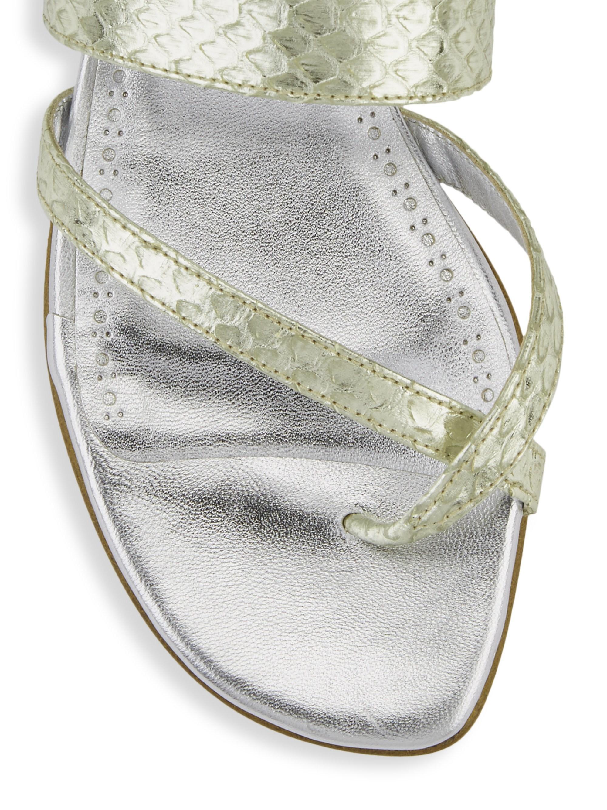 0239456477cc Lyst - Manolo Blahnik Susa Snakeskin Leather Flats in Metallic