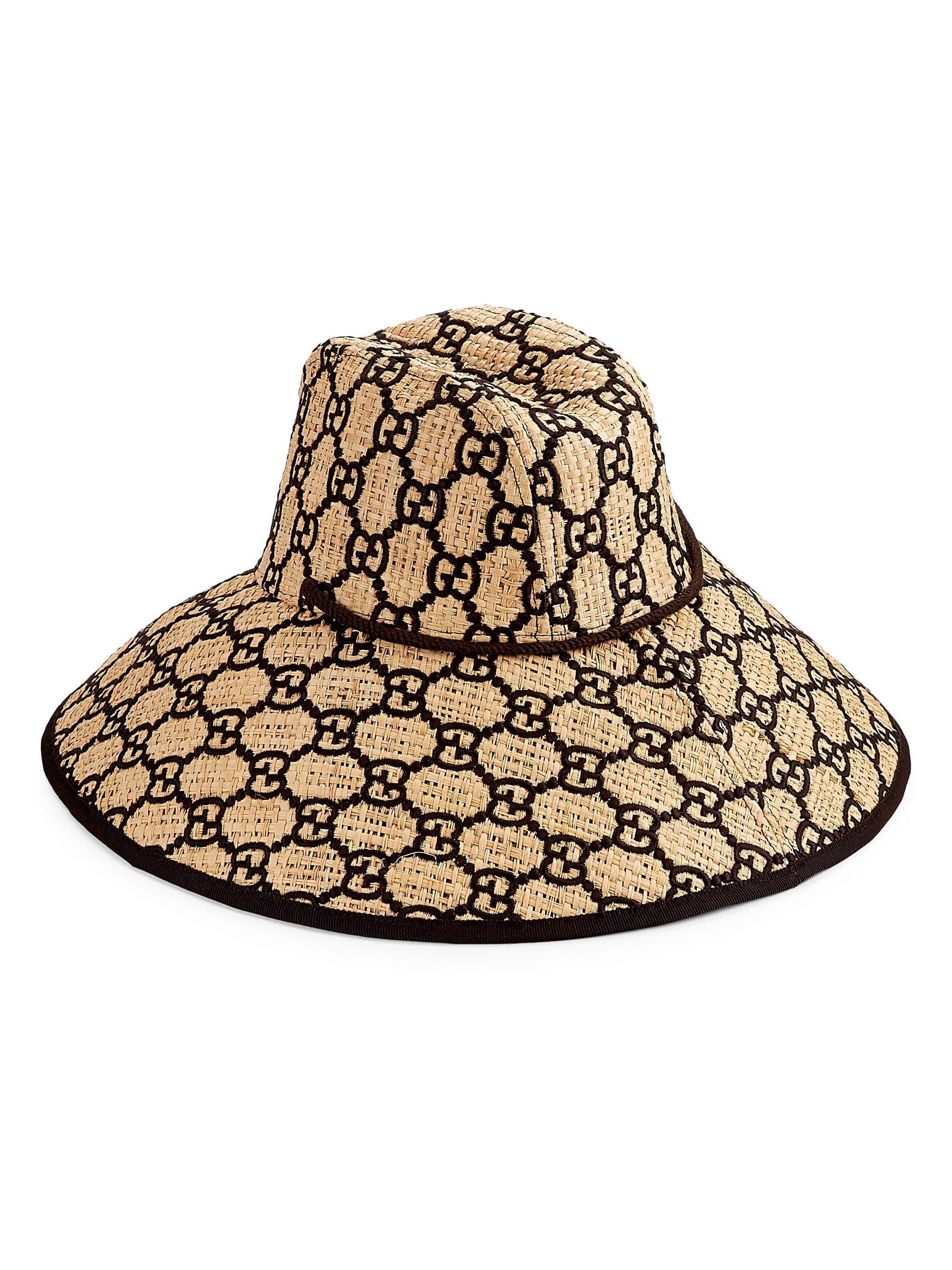 0e6423b5264241 Gucci Gg Logo Wide Brimmed Raffia Hat - Lyst