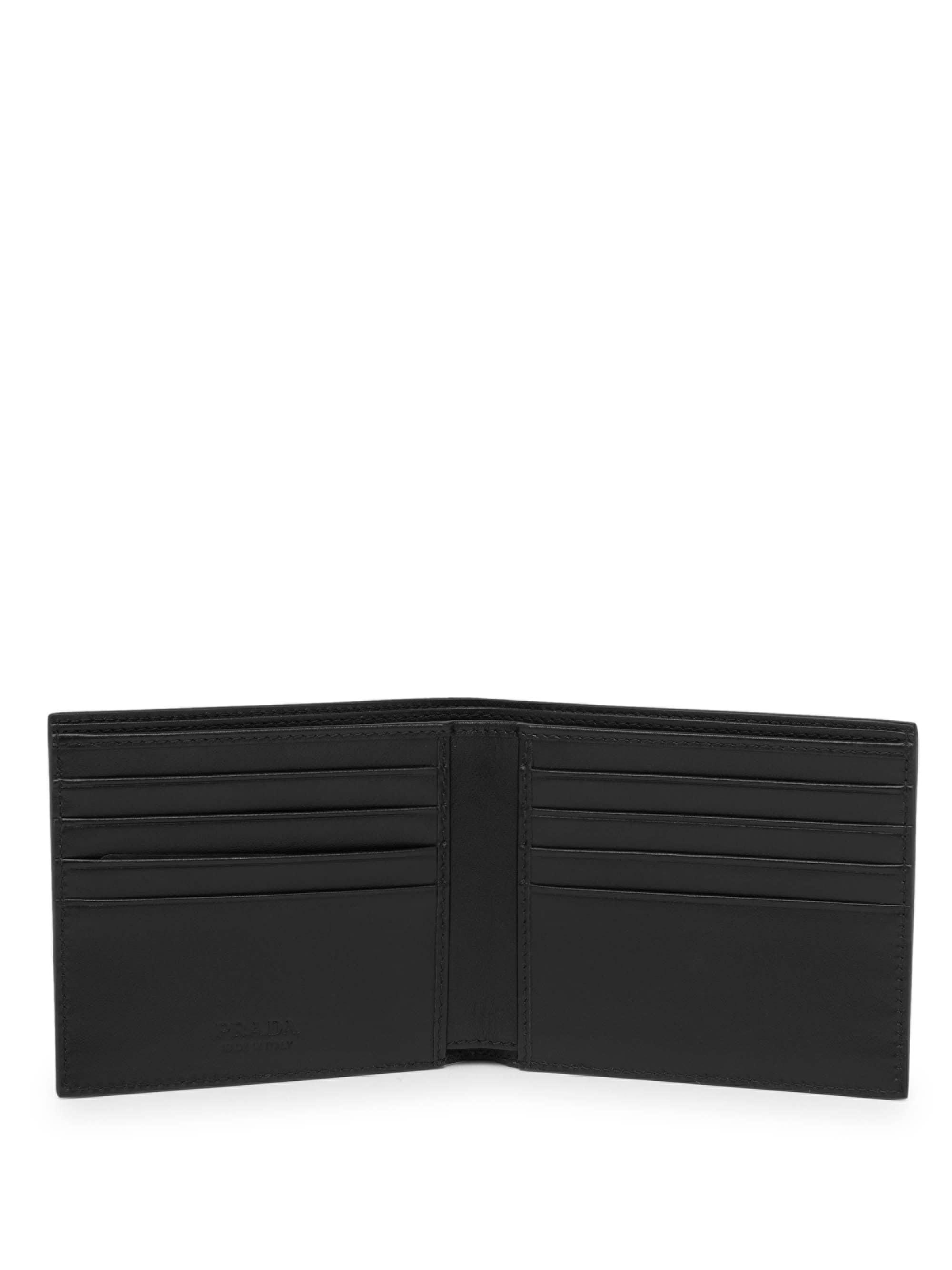 02145f49206 ... discount code for prada black saffiano leather billfold wallet for men  lyst. view fullscreen 0aad0