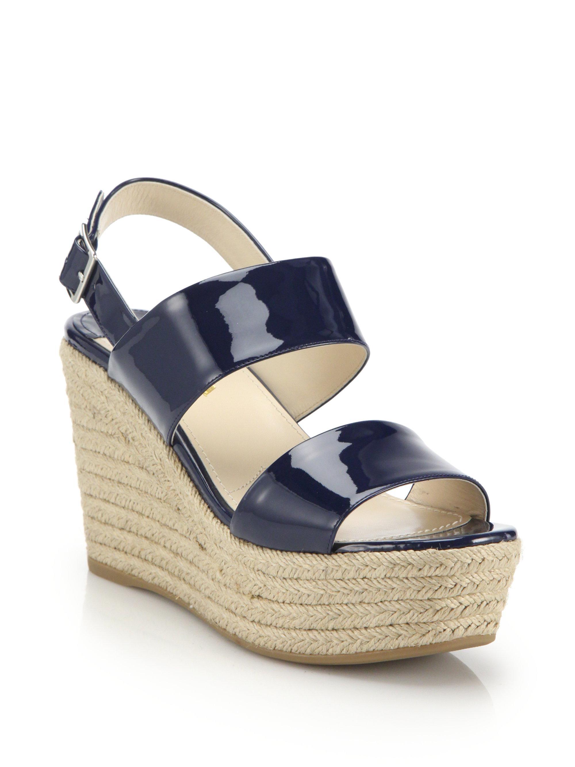 65cc5f8fbda3 Lyst - Prada Patent Leather Espadrille Platform Wedge Sandals in Blue