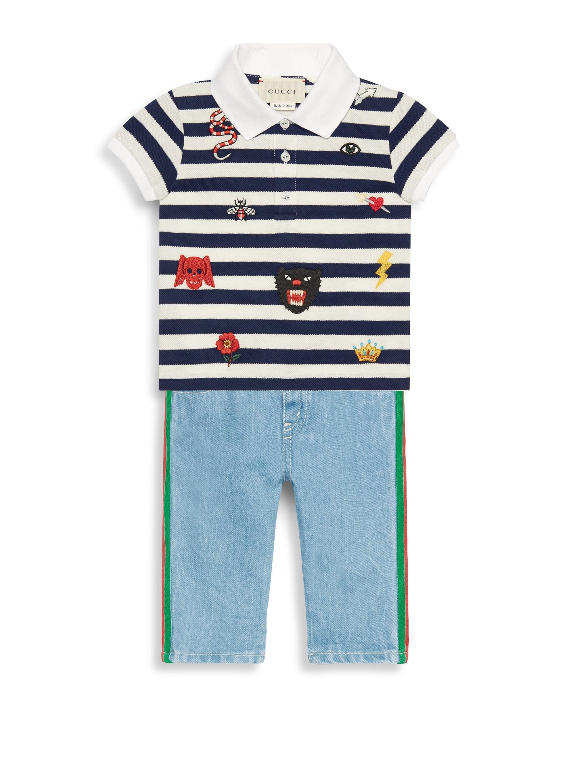 6aeb03de1a5e Lyst - Gucci Baby Boy's Short-sleeve Stripe Embroidered Polo in Blue ...