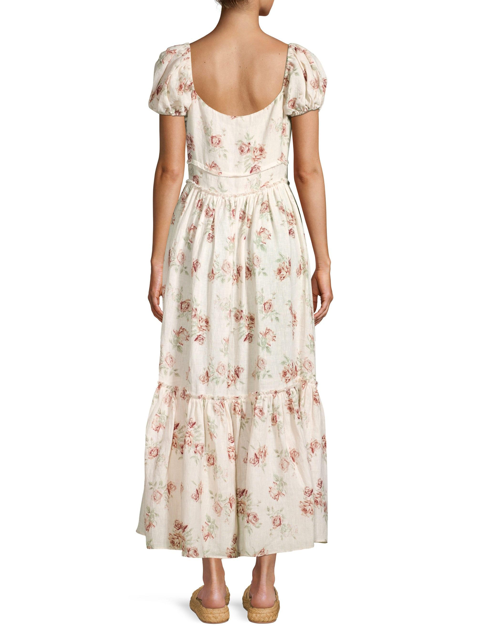 5018bb929b8 Lyst - LoveShackFancy Women s Angie Cotton Floral Maxi Dress - Dream - Size  0 in Natural