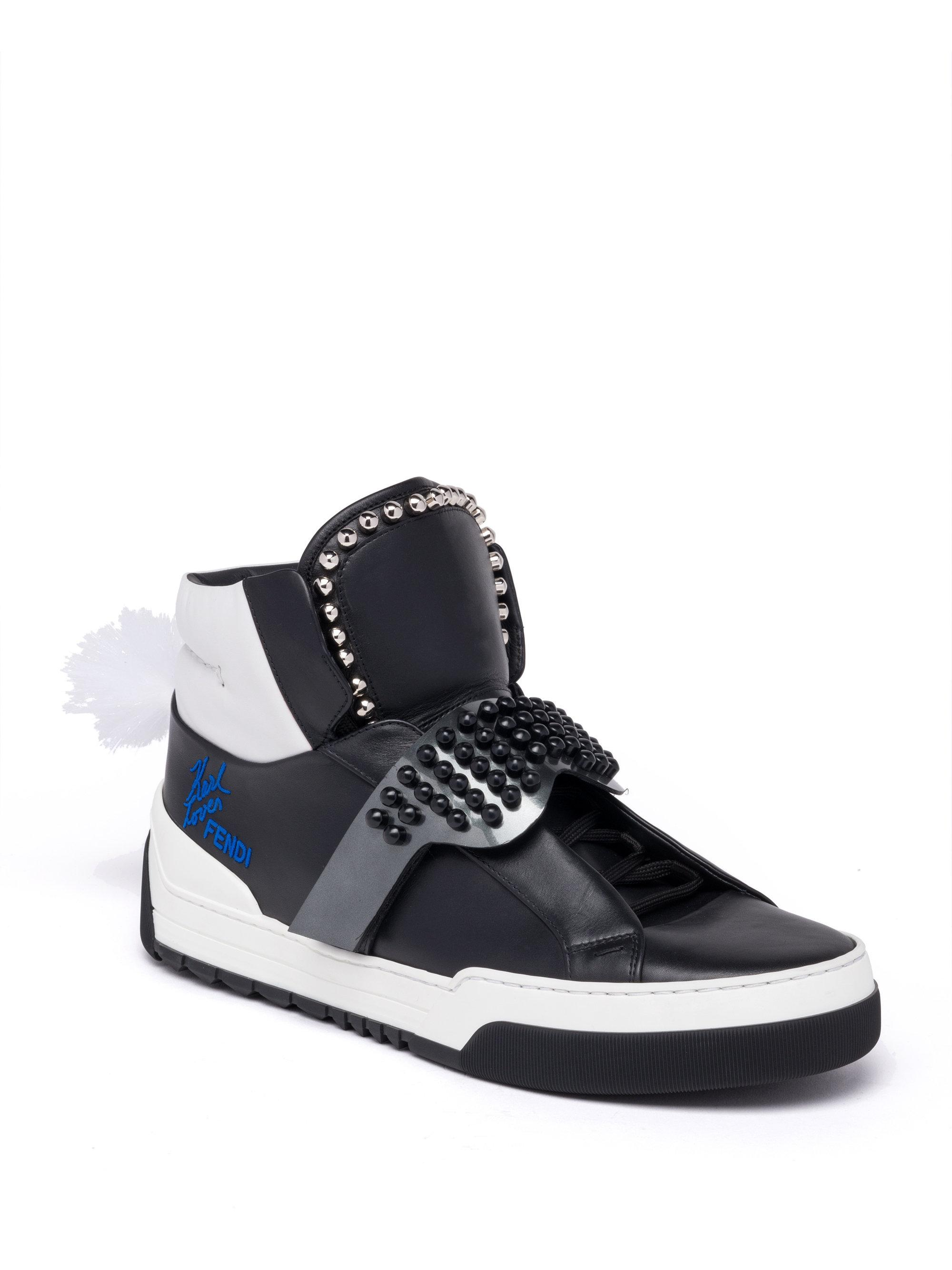 b6e7ea40facd Lyst - Fendi Karlito Studded High-top Leather Sneakers in White for Men