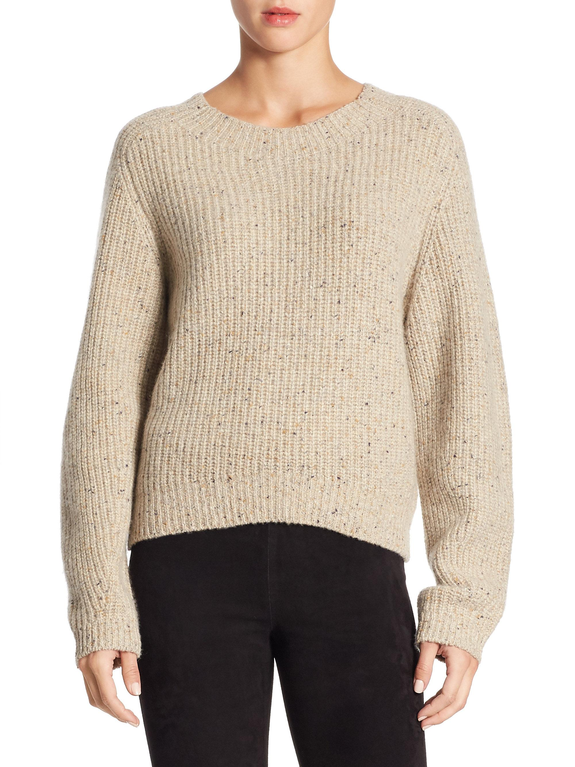 Vince Cropped Saddle Cashmere Sweater in Natural - Save 40% | Lyst