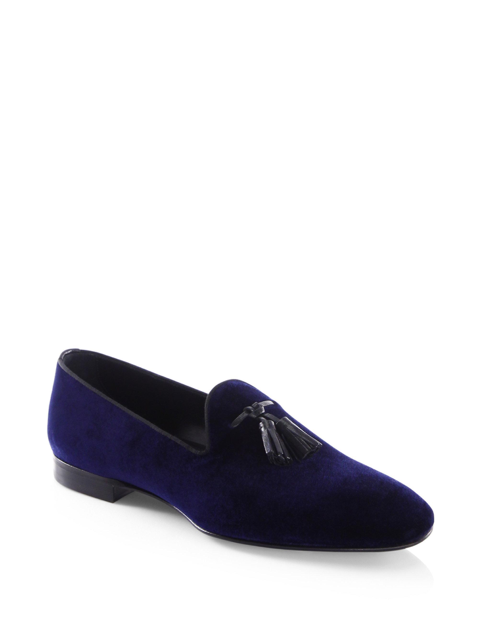 6da020a234f Lyst - BOSS Glam Slon Velvet Tassel Smoking Slippers in Blue for Men