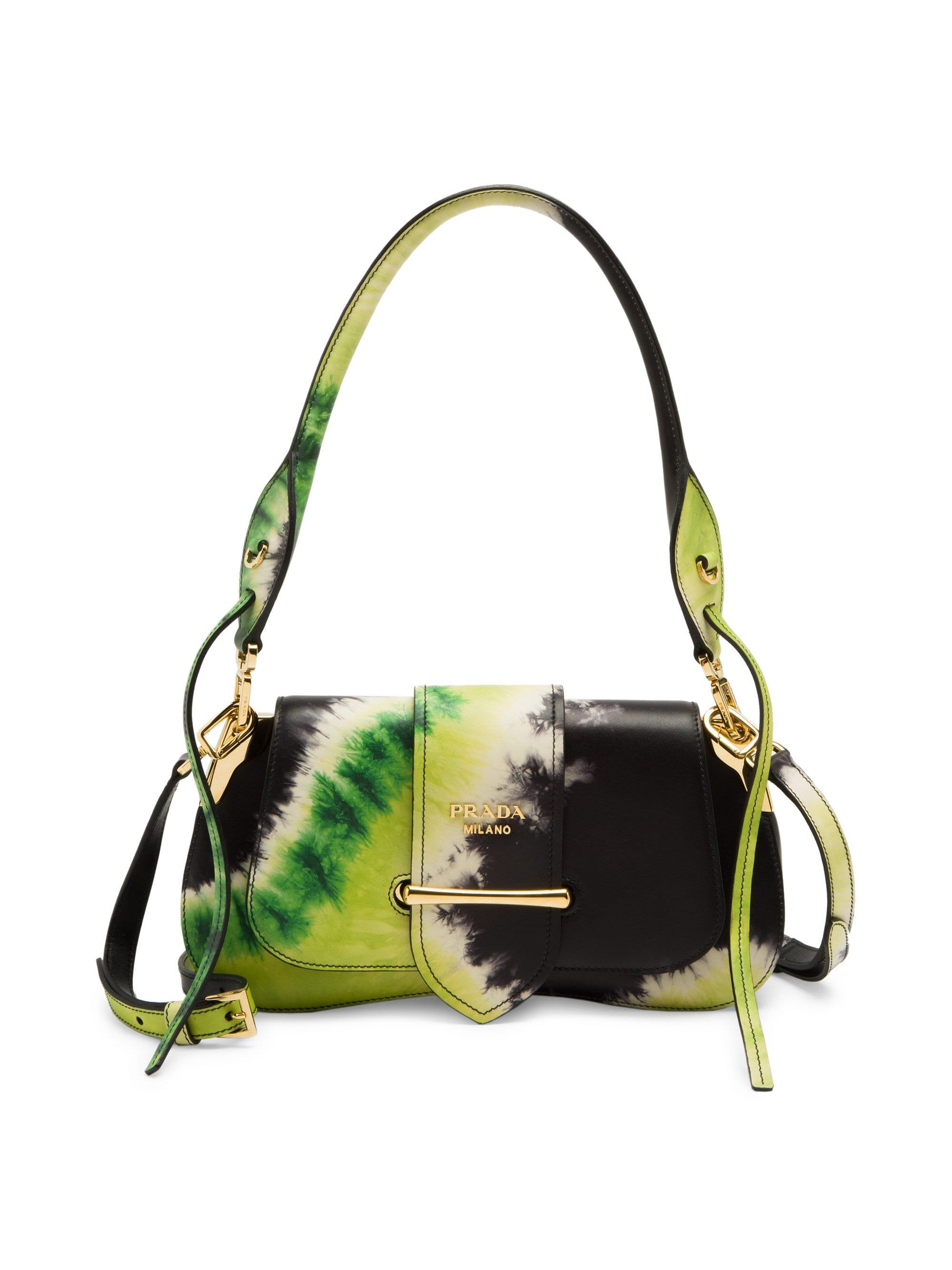 64a256d907 Prada Women's Sidonie Tie Dye Shoulder Bag - Nero Lime in Black - Lyst