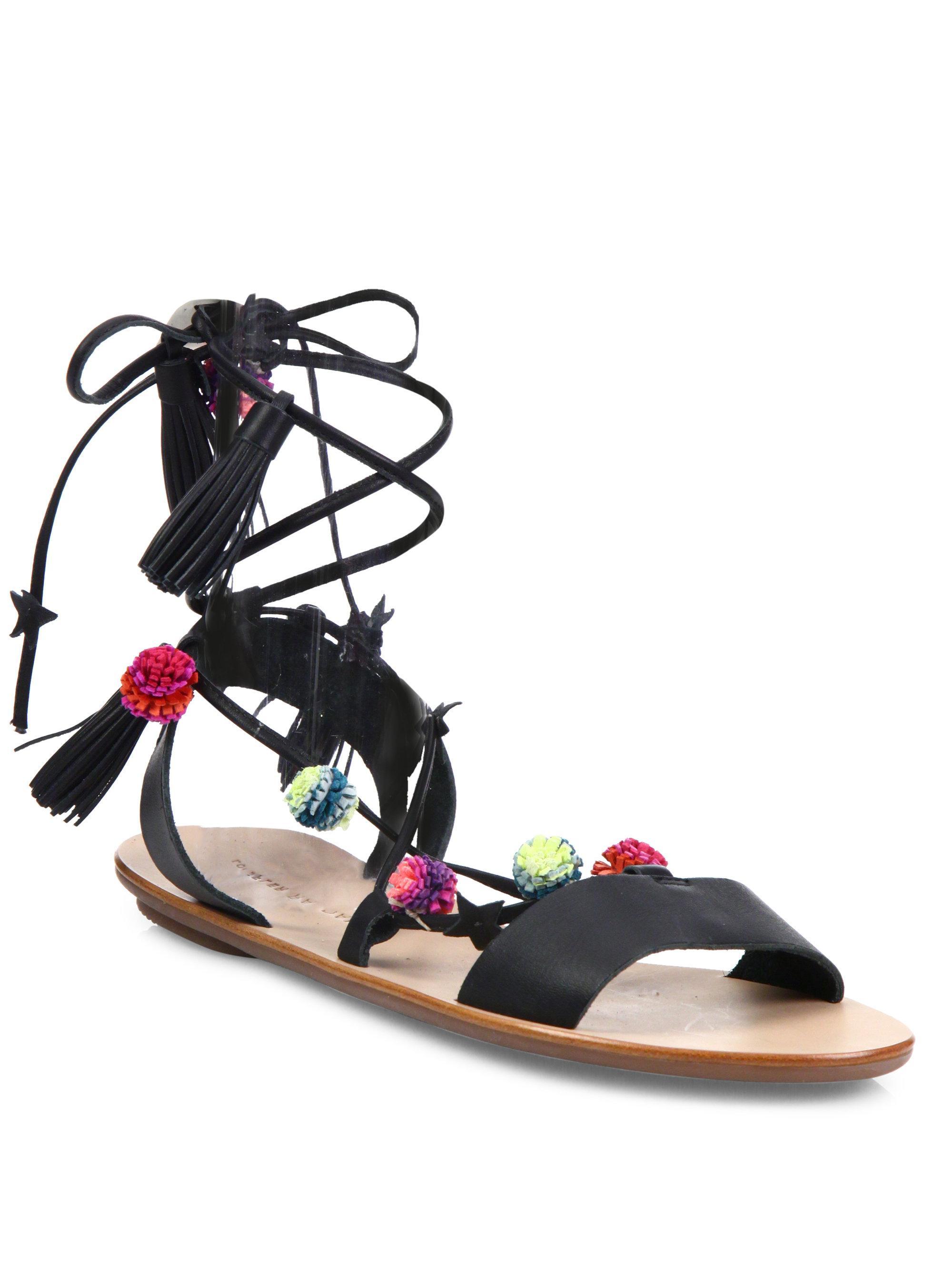 Loeffler Randall Suze Pom-Pom Leather Ankle-Wrap Sandals rg9TGHOtjg