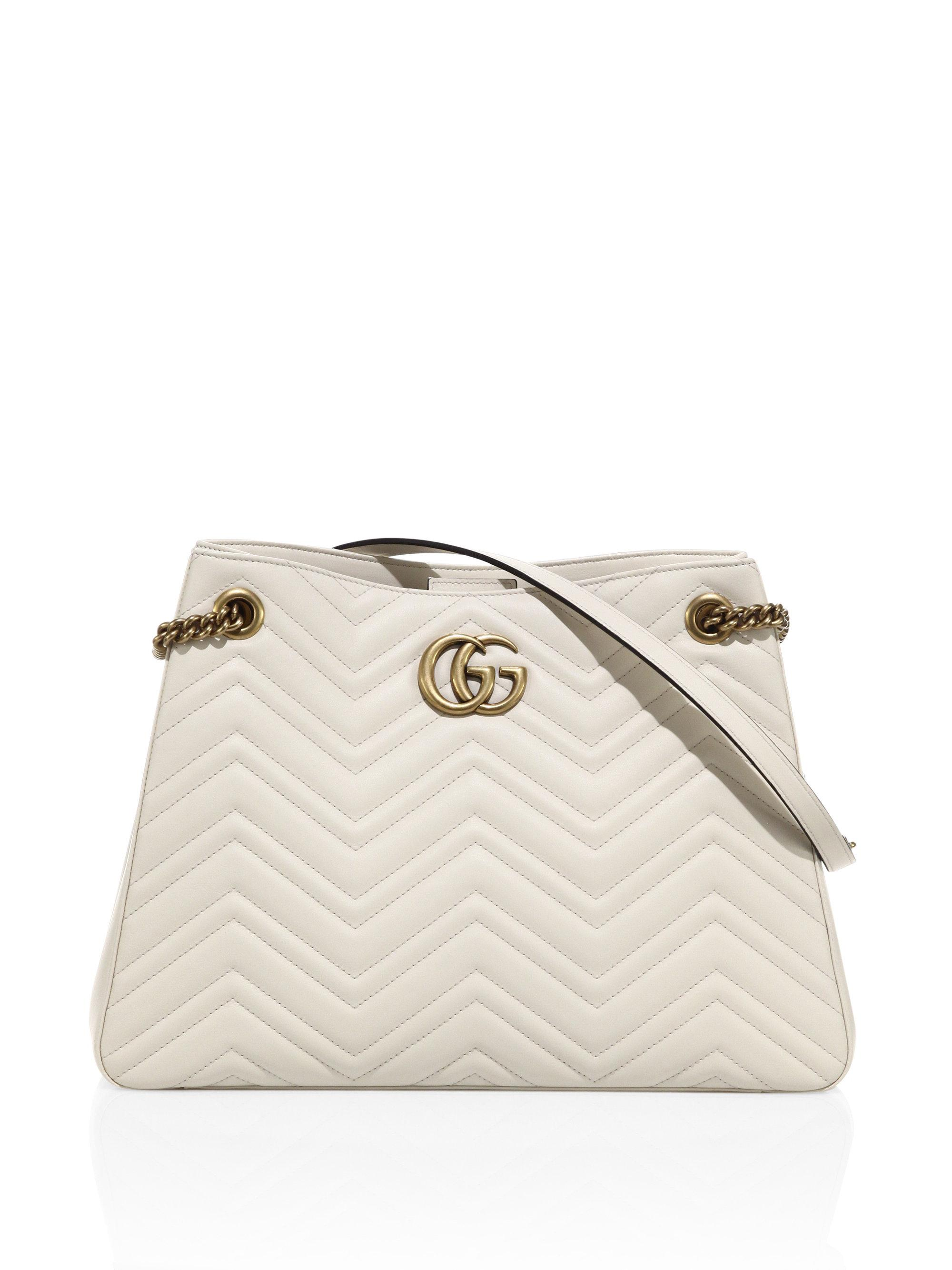 ab1226332f53e2 Lyst - Gucci Gg Marmont Matelasse Leather Shoulder Bag in White: