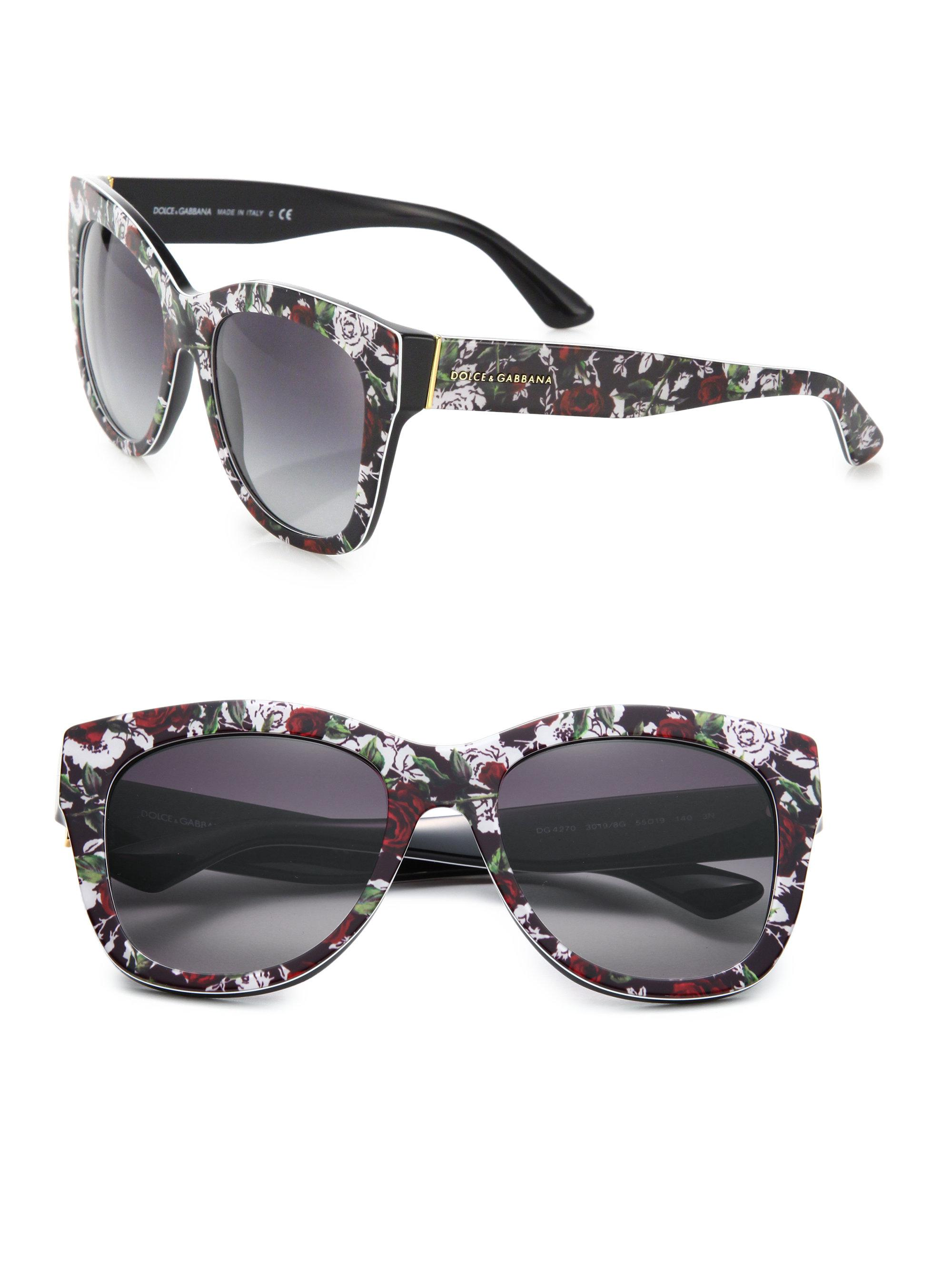 1e9410f0fcaa Dolce & Gabbana 55mm Square Floral Acetate Sunglasses in Pink - Lyst