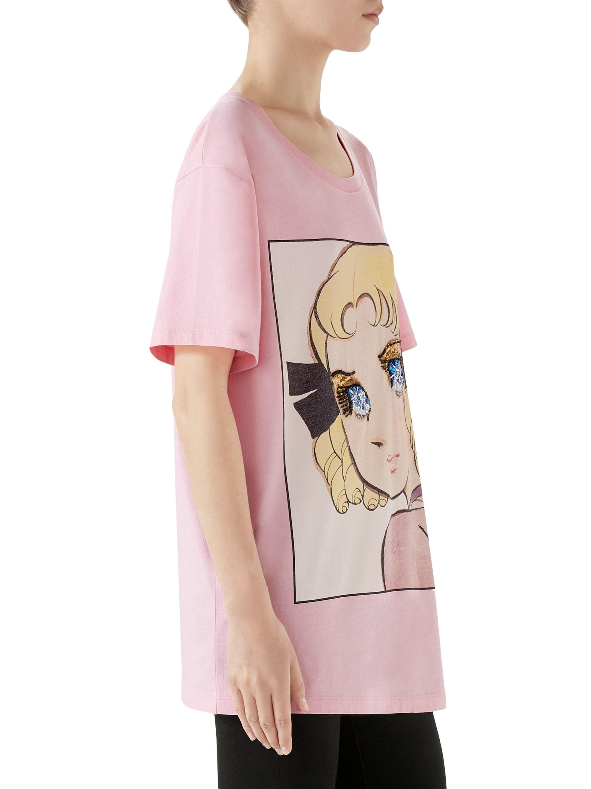 094639d212fd Gucci Manga Sequin Eyes Tee in Pink - Lyst