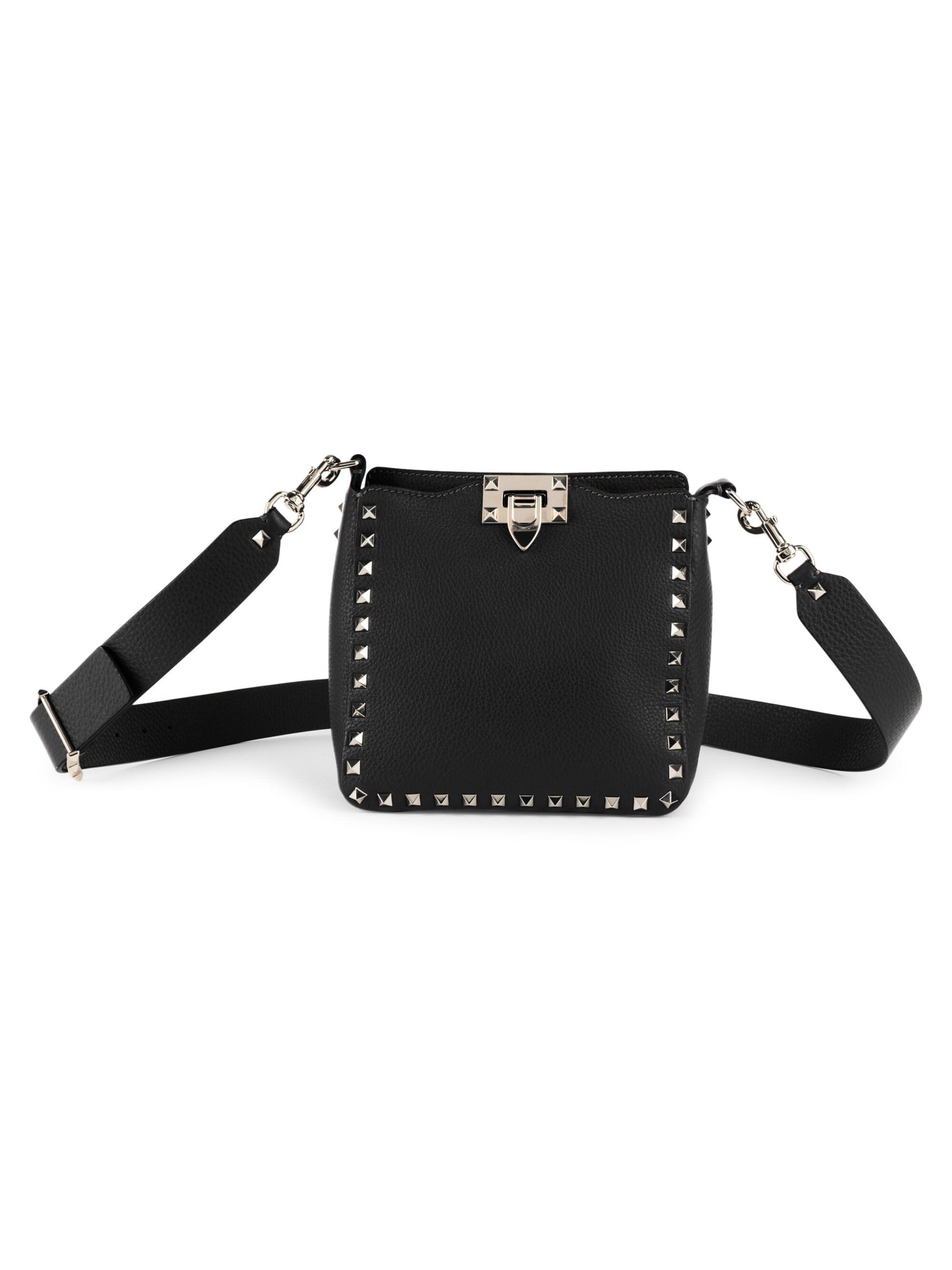 5db6d8c0b0 Valentino - Black Women's Mini Rockstud Leather Hobo Bag - Wine - Lyst.  View fullscreen