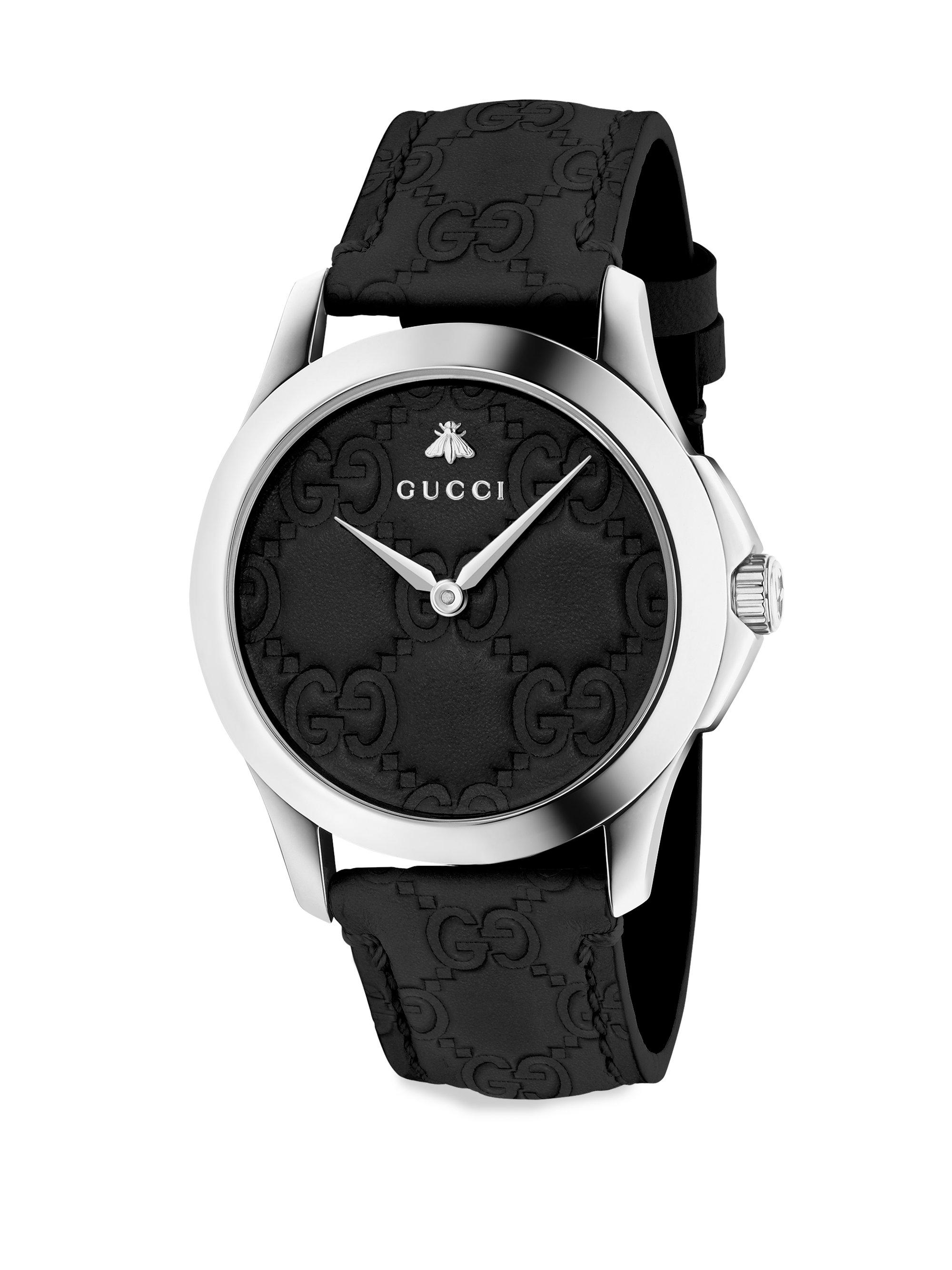 Lyst gucci g timeless leather strap watch in black for men for Black leather strap men