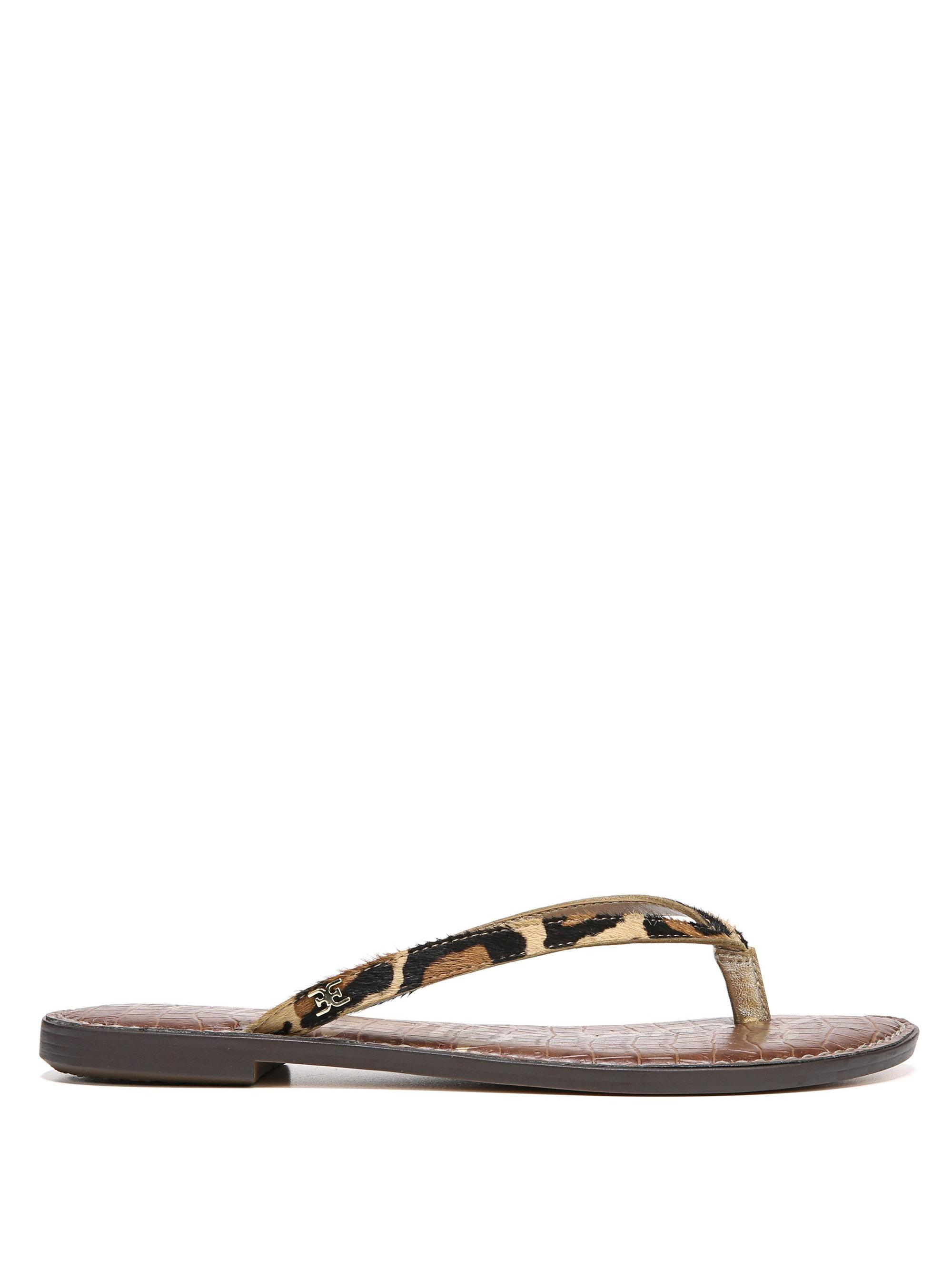 4bbdb26b85f4 Lyst - Sam Edelman Gracie Leopard Brahma Hair Thong Sandals in Brown