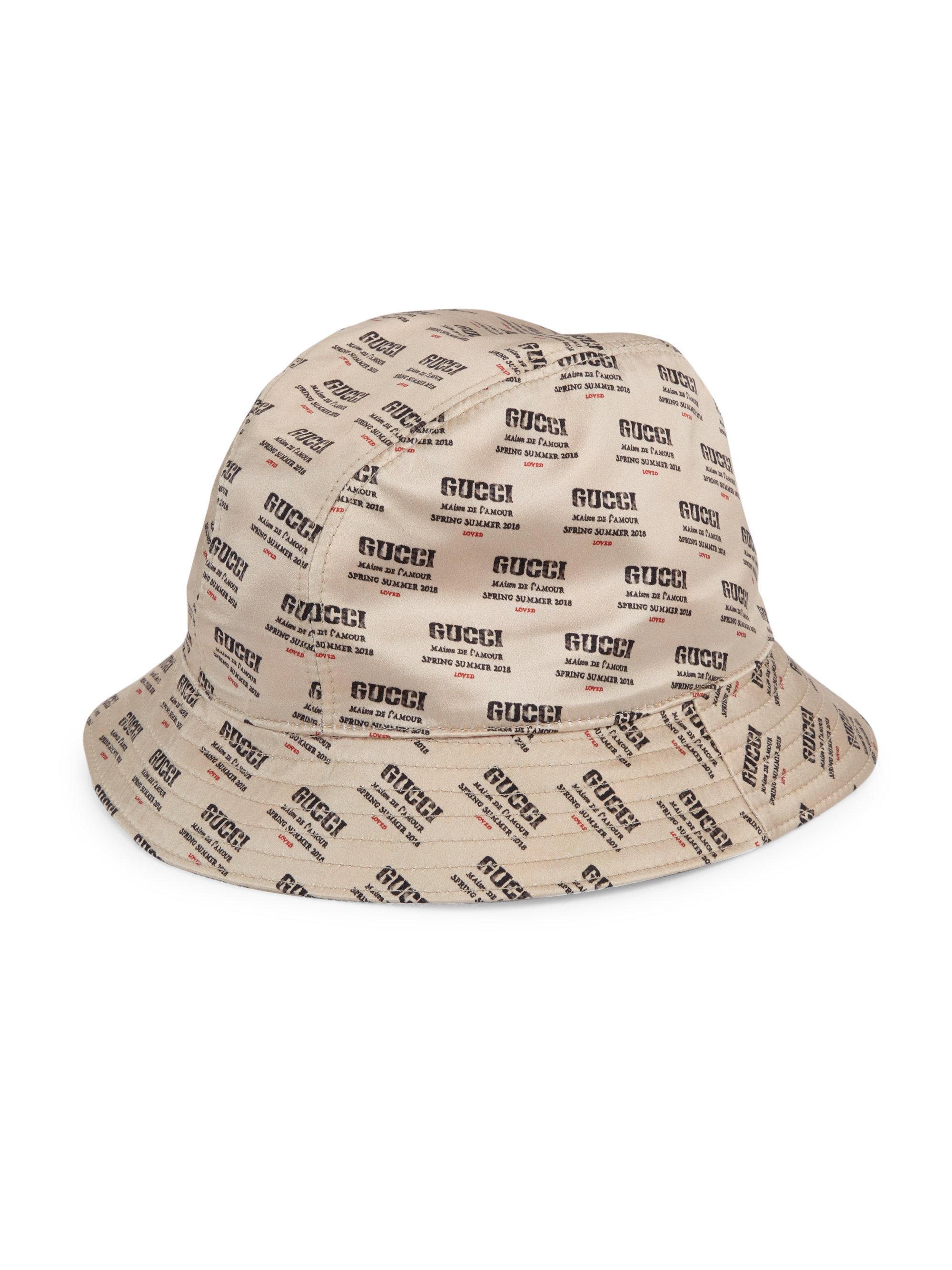 837053beeb640 Gucci Invite Print Silk Bucket Hat in White for Men - Lyst