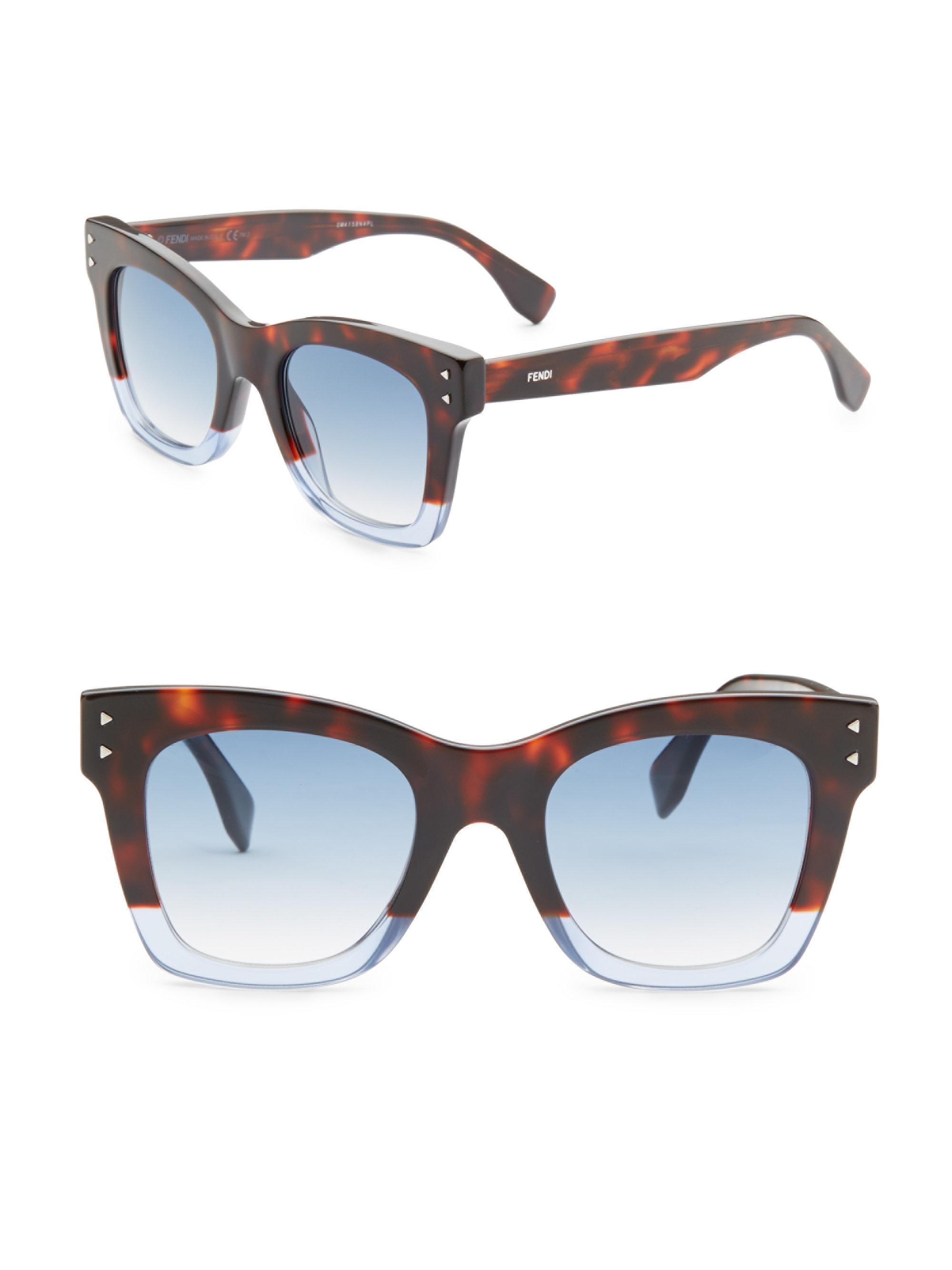 e32672e57f Fendi Colorblock 56mm Square Sunglasses in Blue - Lyst