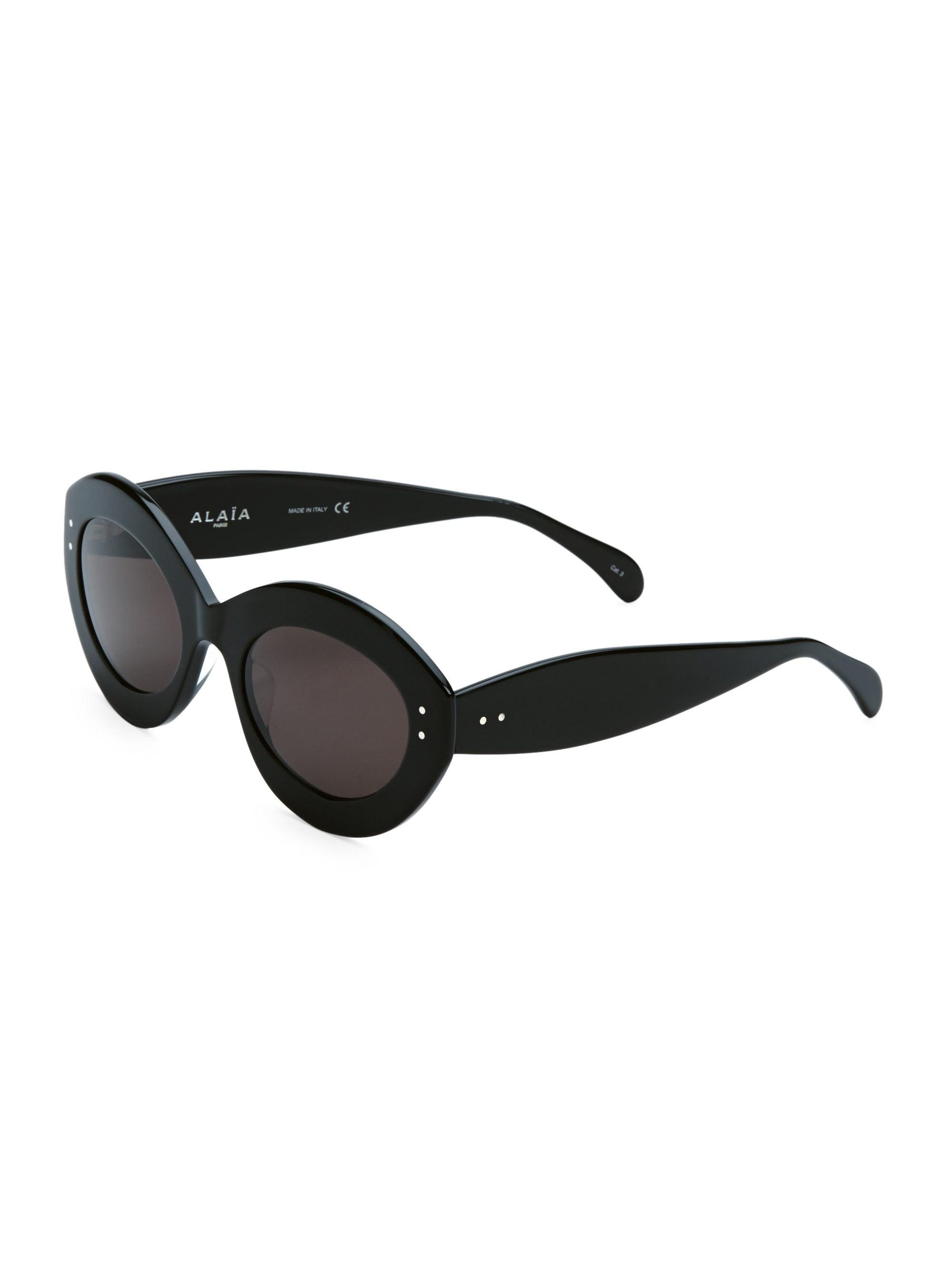 032b5a1829 Lyst - Alaïa Enhanced Femininity Black Oval Sunglasses in Black