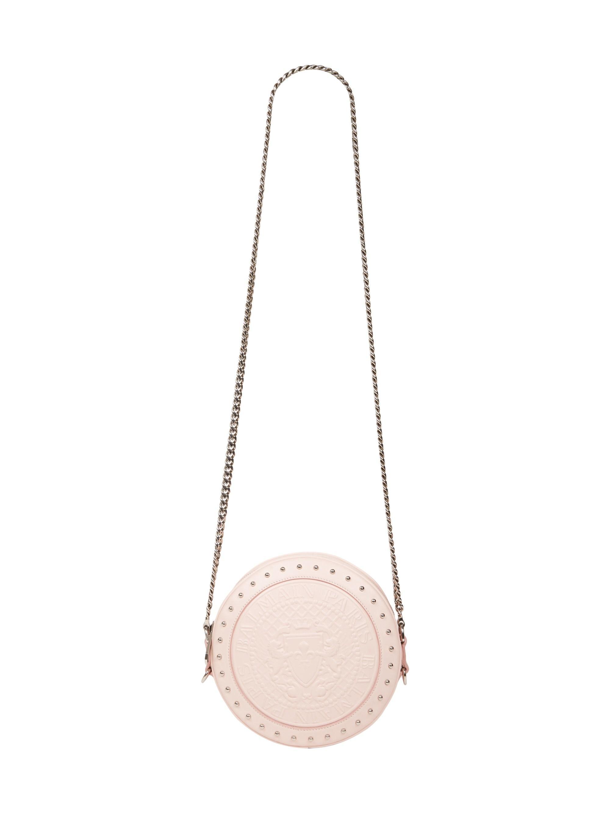 886464a3489 Balmain - Pink Disco Embossed Leather Circle Crossbody Bag - Lyst. View  fullscreen