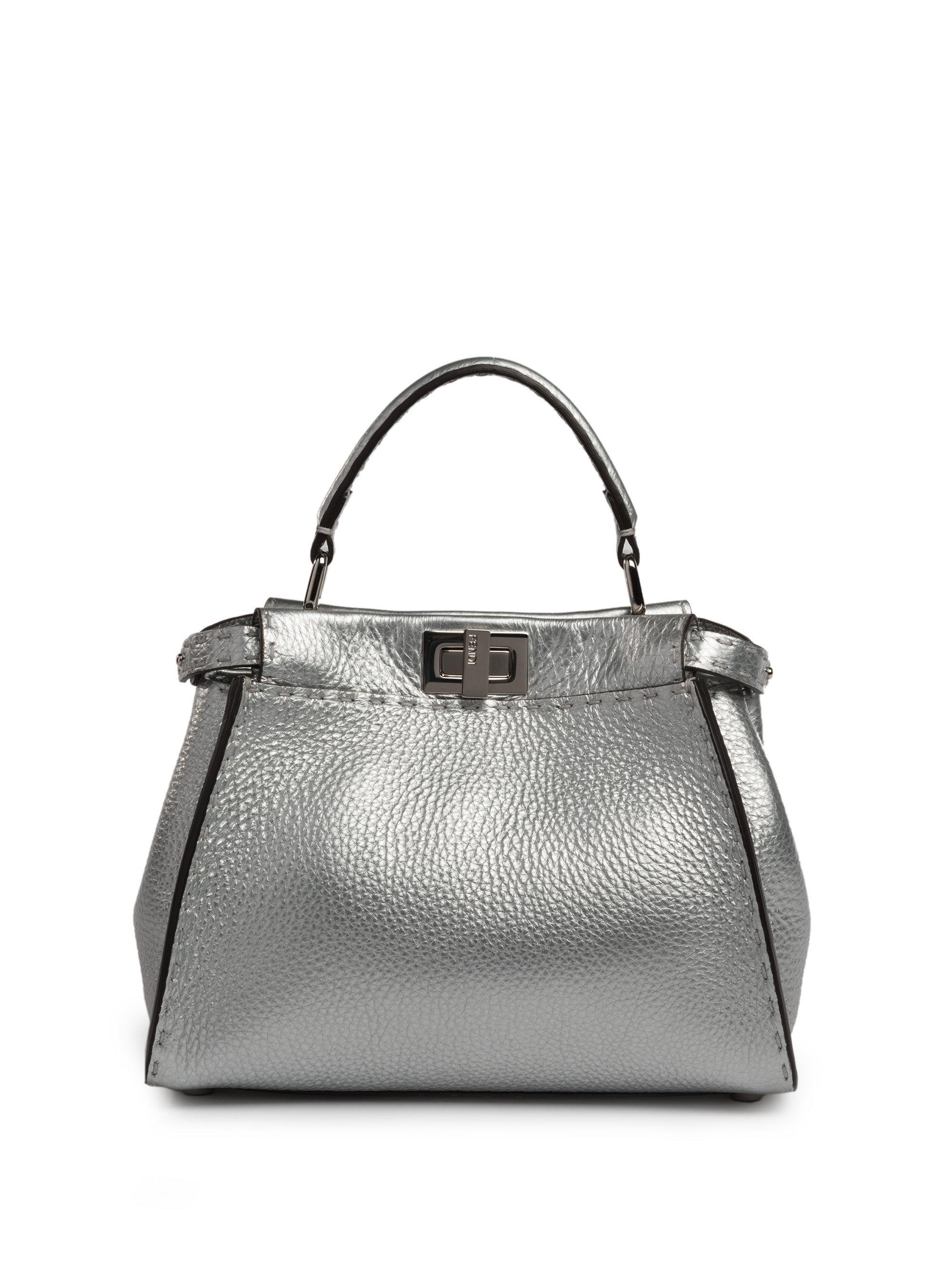 635b22db04ac ... germany lyst fendi selleria peekaboo mini metallic leather satchel in  metallic 53e67 5bf6a