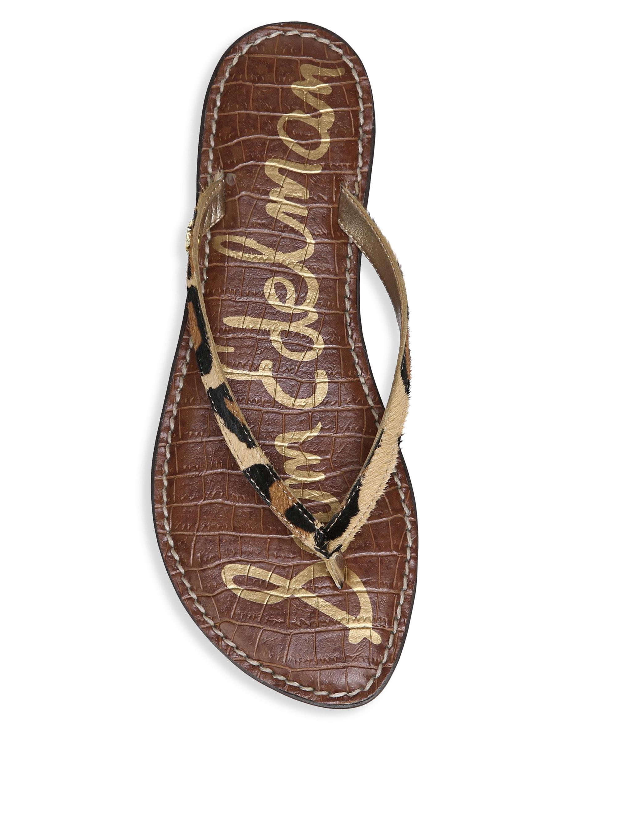 35962b0374d05 Lyst - Sam Edelman Gracie Leopard Brahma Hair Thong Sandals in Brown