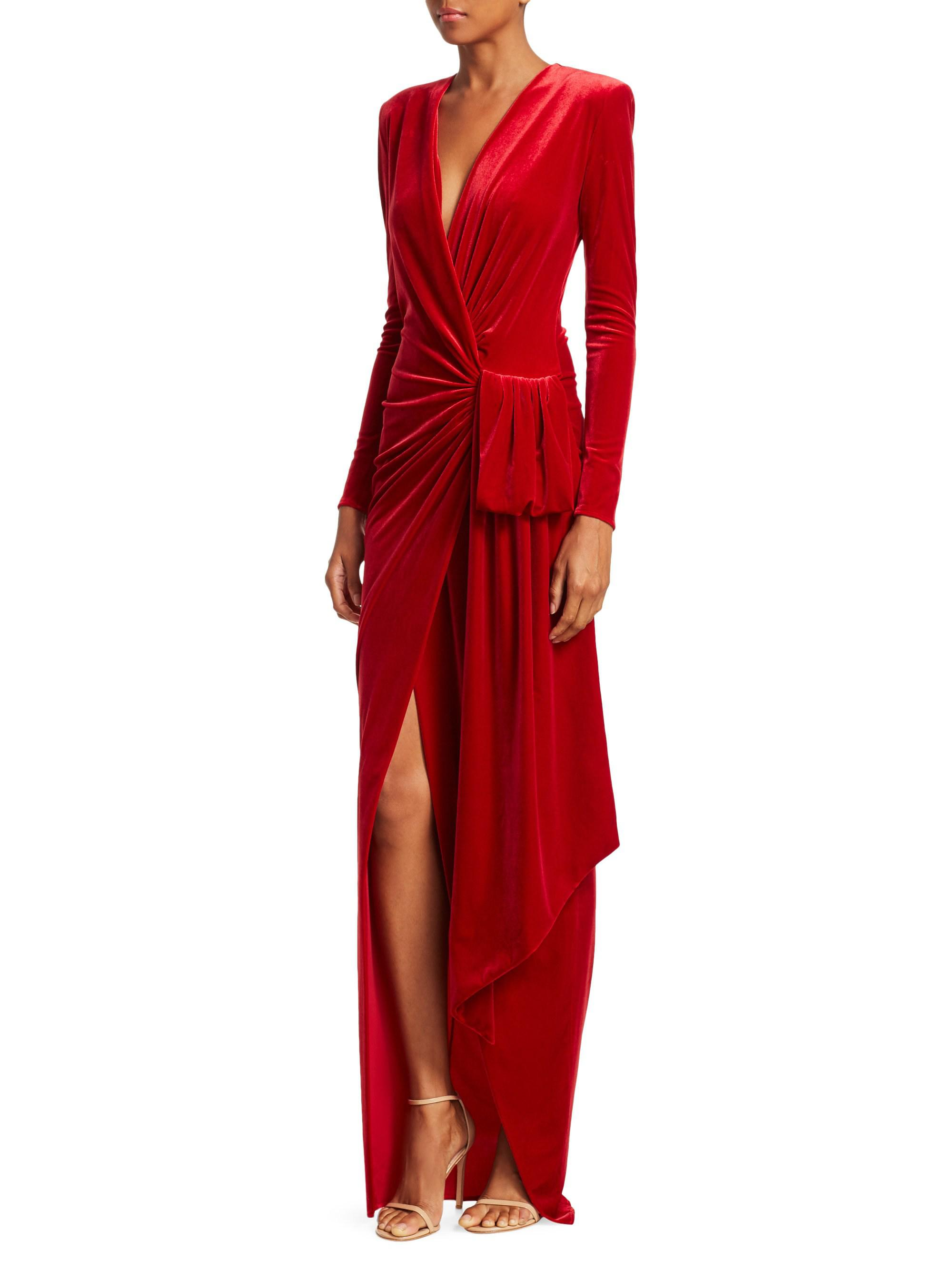 d0f64443ca Alexandre Vauthier Draped Velvet Maxi Wrap Gown in Red - Lyst