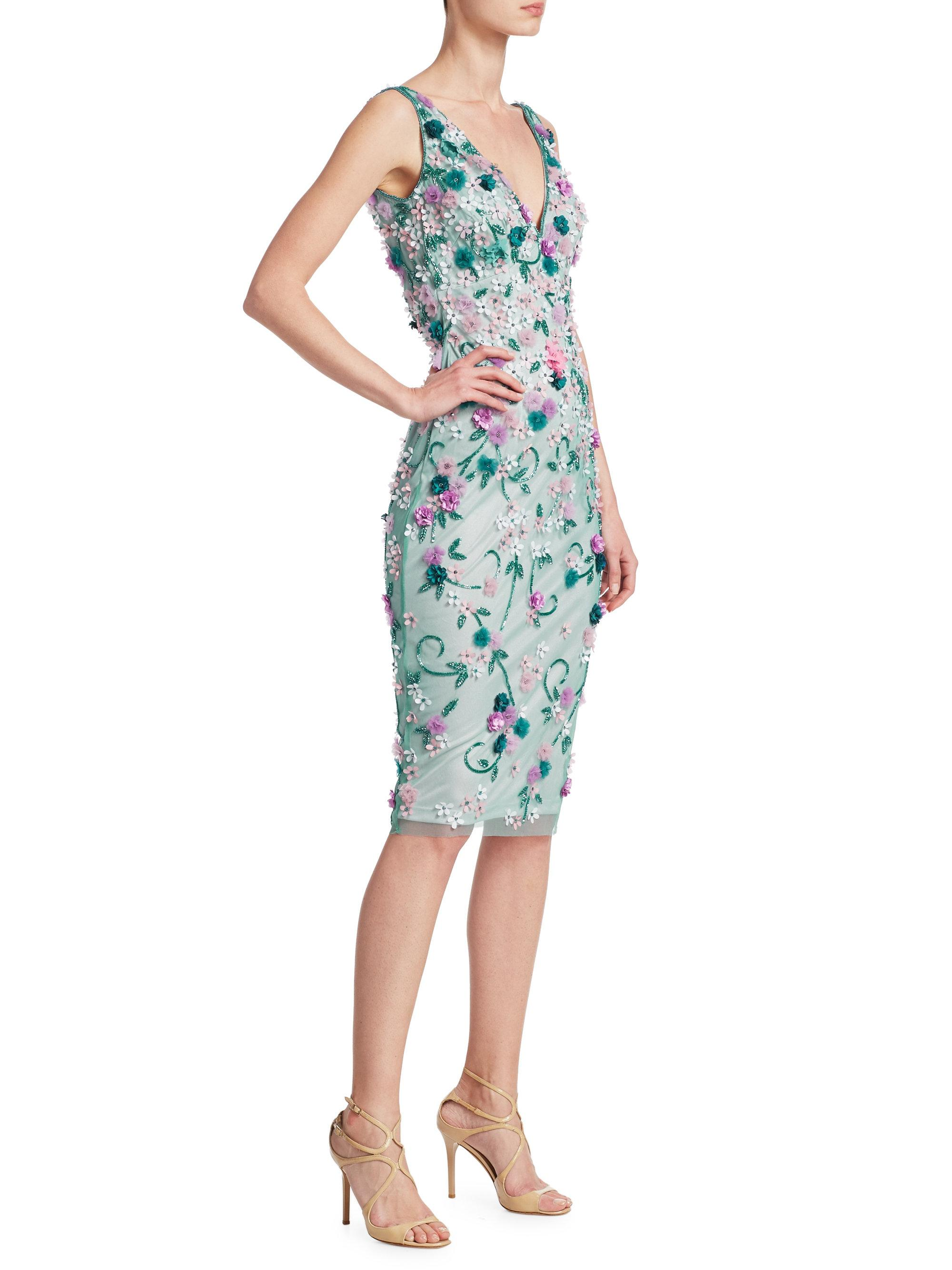 Lyst - Theia Embellished Cocktail Dress in Green