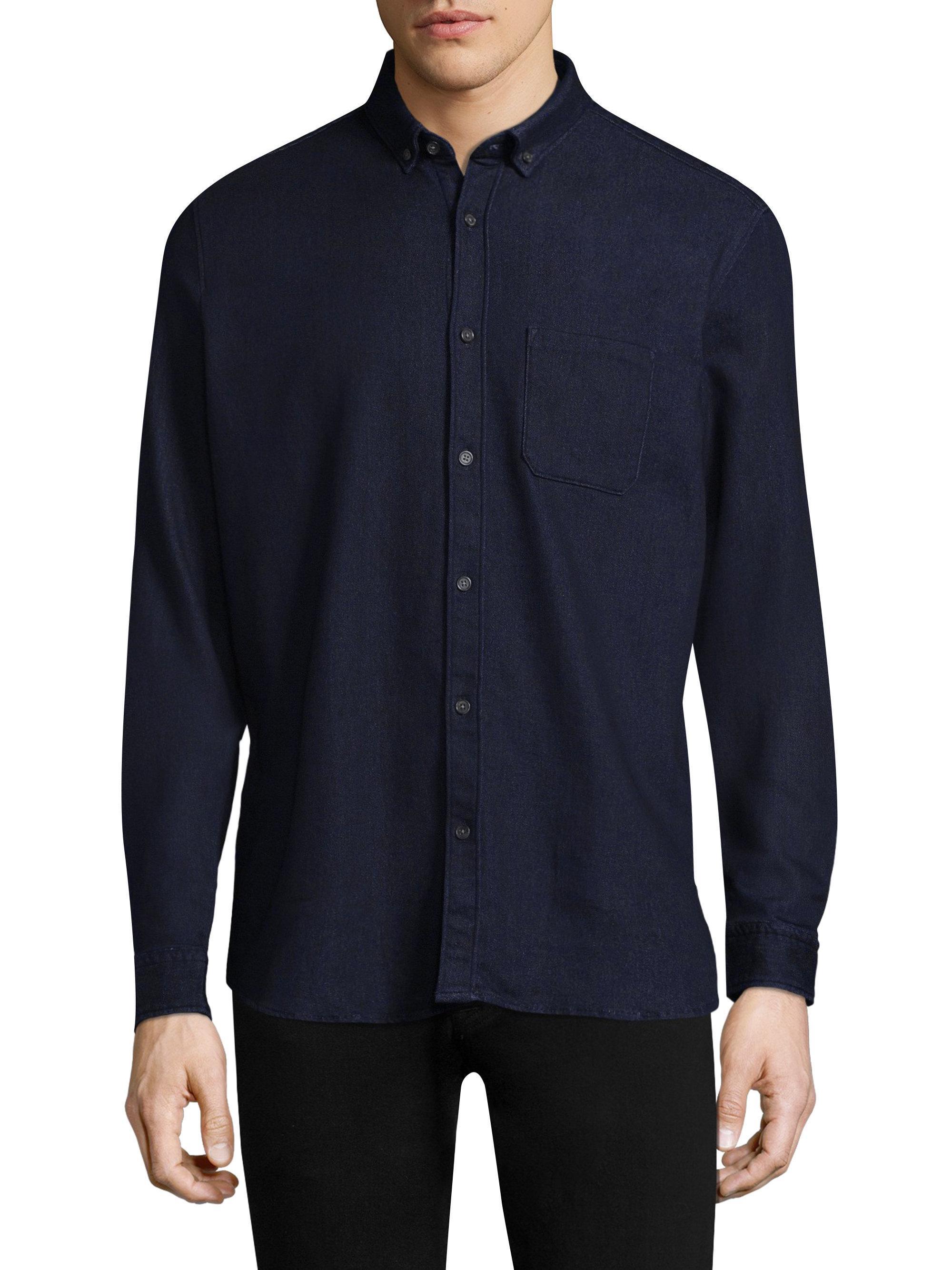 Lyst hugo emingway denim casual button down shirt in for Denim button down shirts